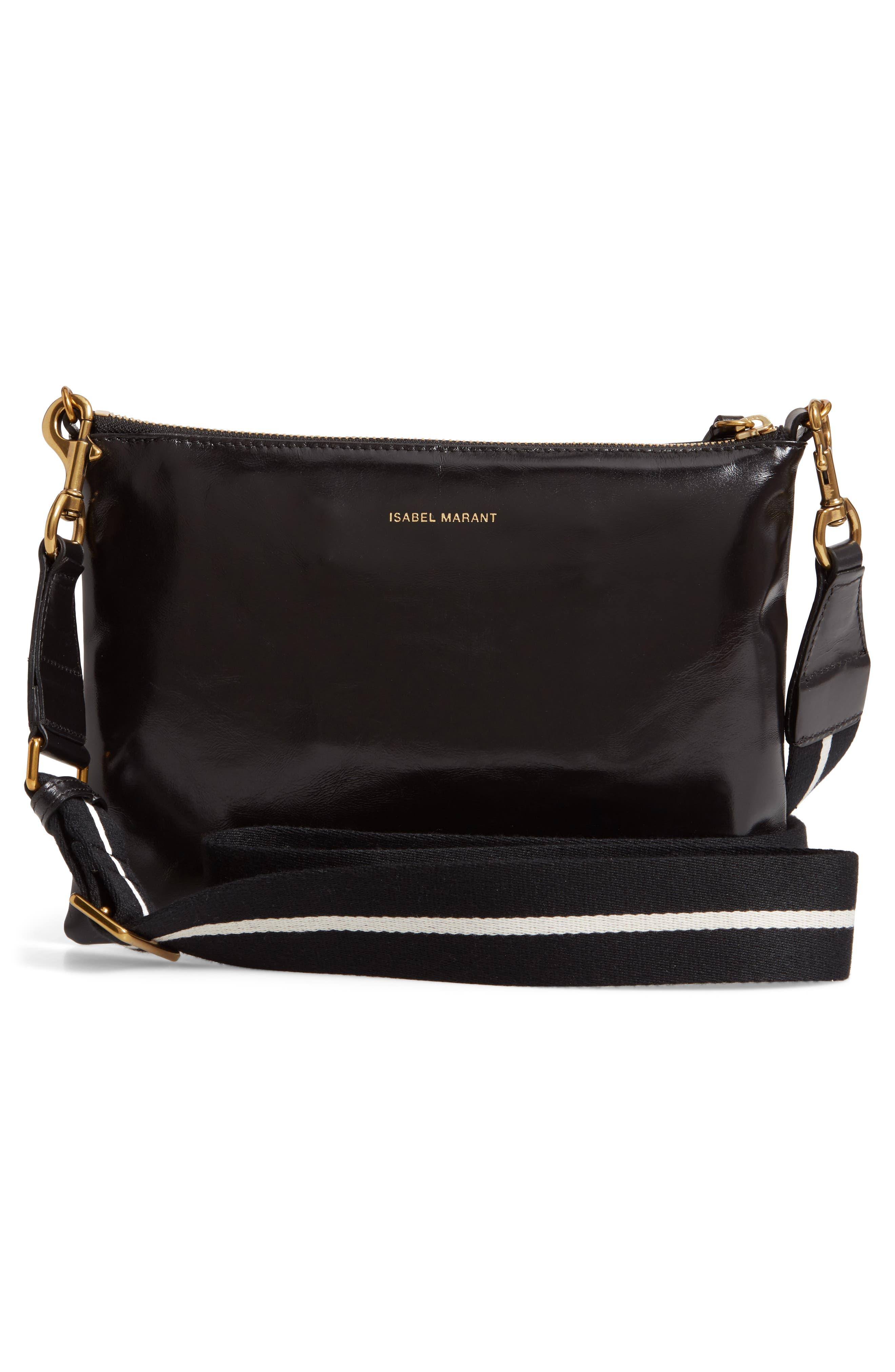 Nessah Leather Crossbody Bag,                             Alternate thumbnail 3, color,                             BLACK