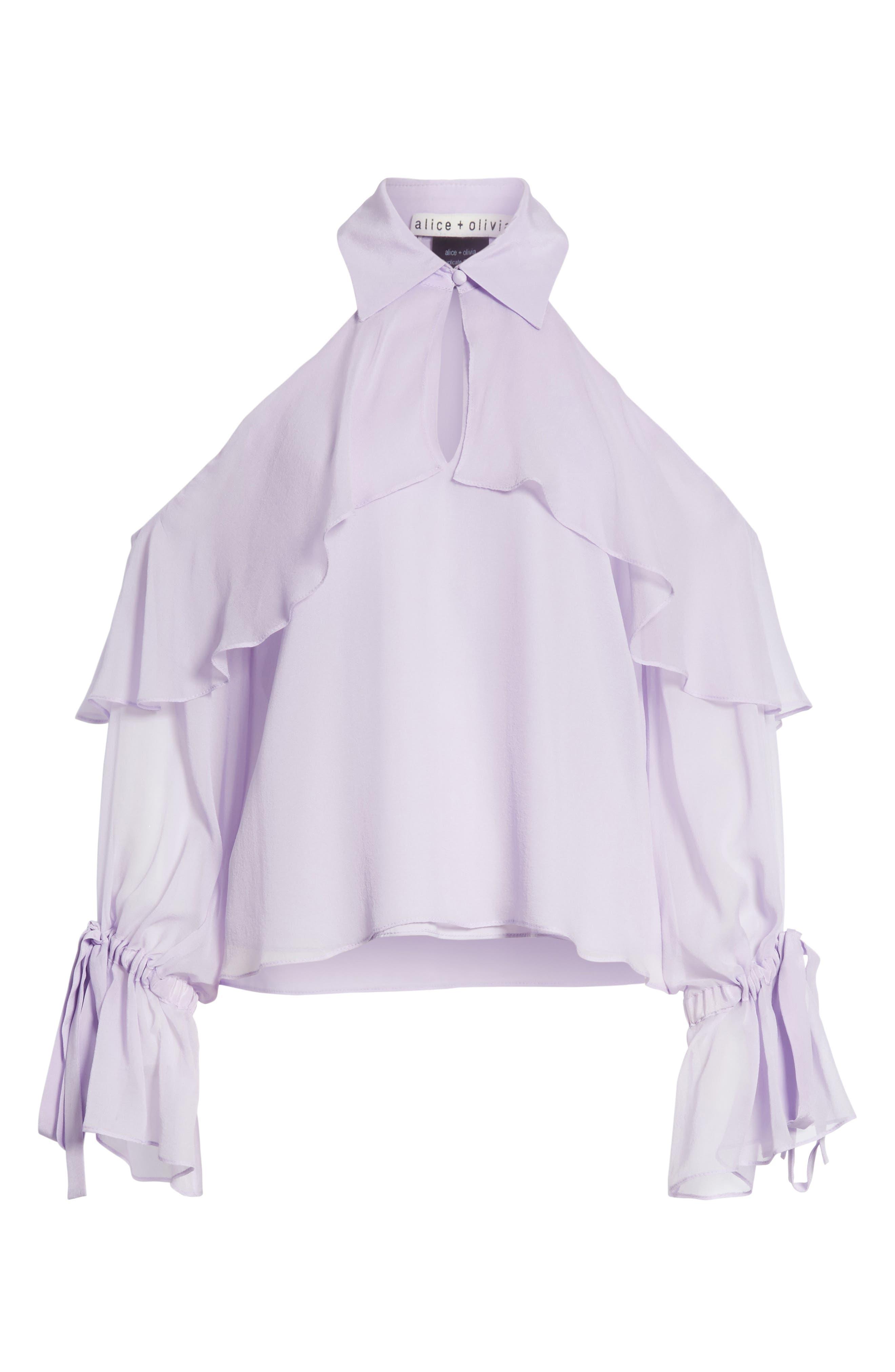 Blayne Cold Shoulder Silk Blouse,                             Alternate thumbnail 12, color,
