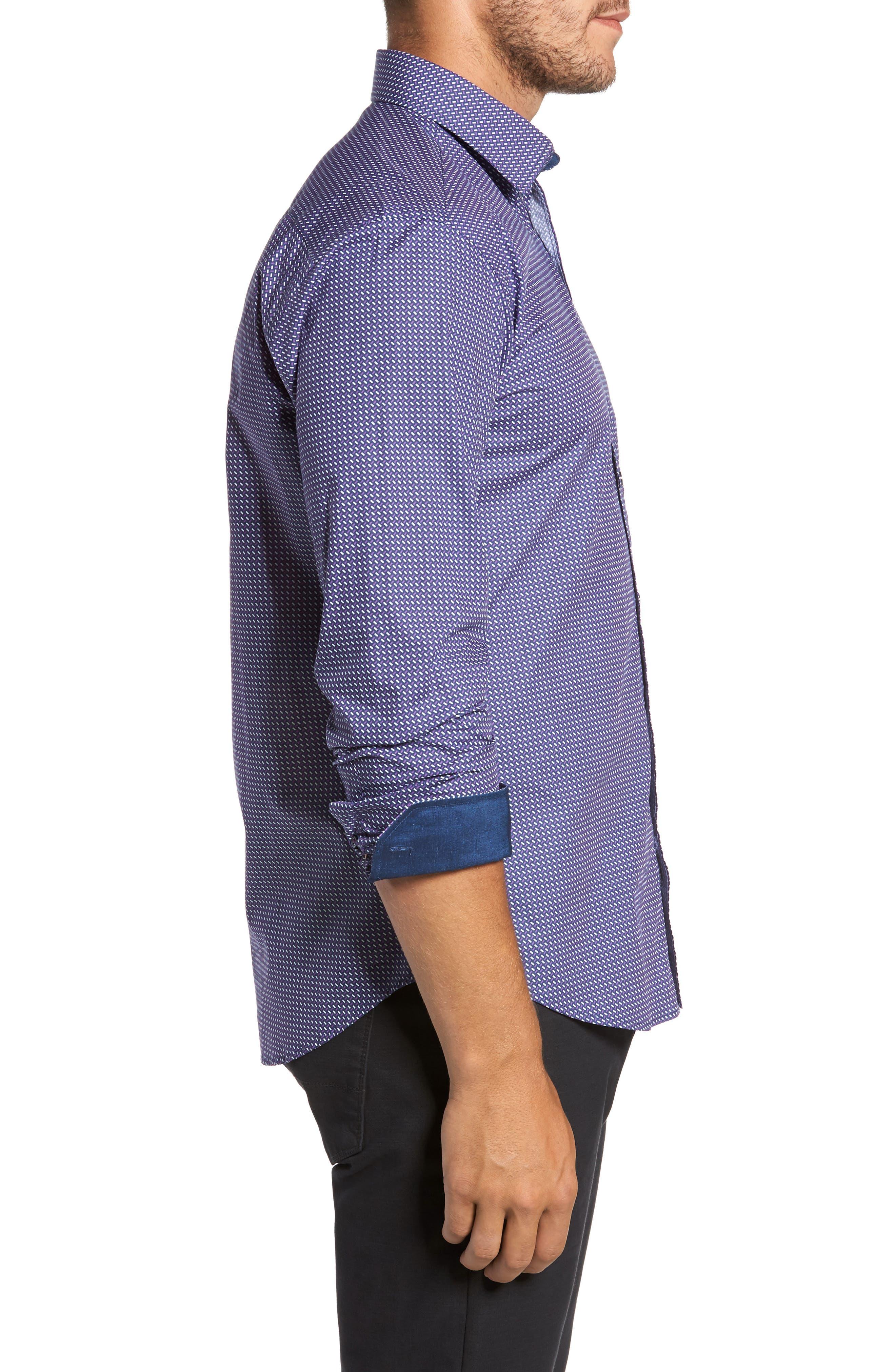 Trim Fit Weave Print Sport Shirt,                             Alternate thumbnail 3, color,                             408