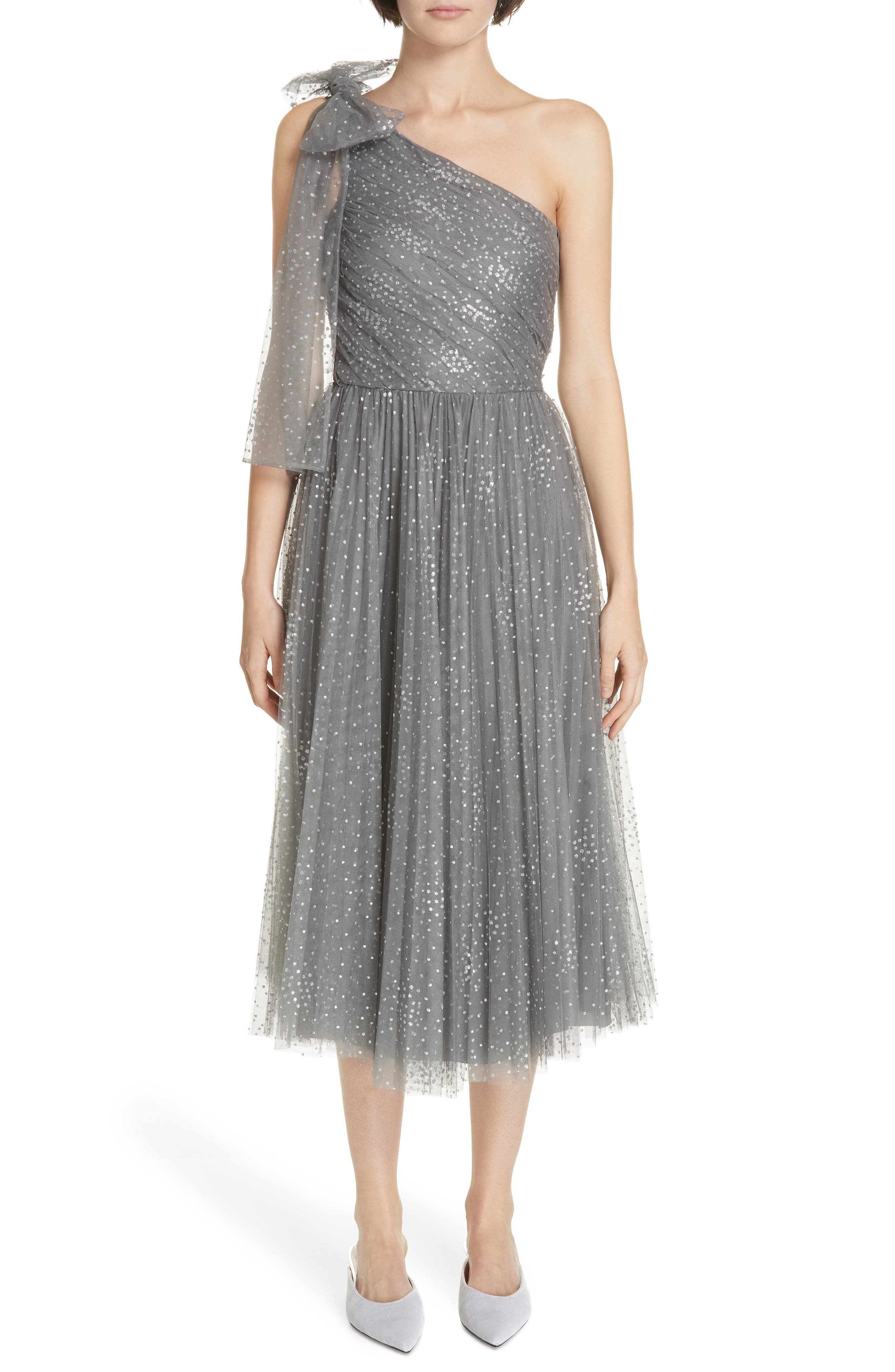 Red Valentino Metallic One-Shoulder A-Line Dress, US / 44 IT - Grey