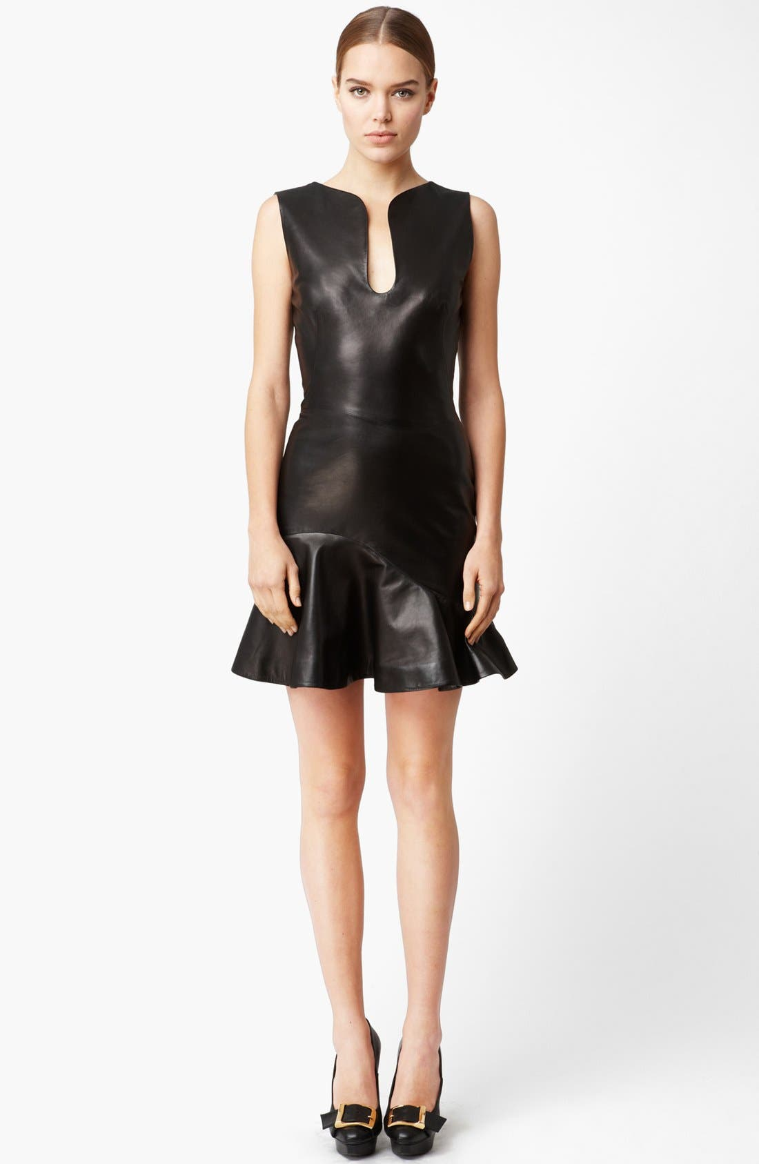 Flounce Leather Dress,                             Main thumbnail 1, color,                             001