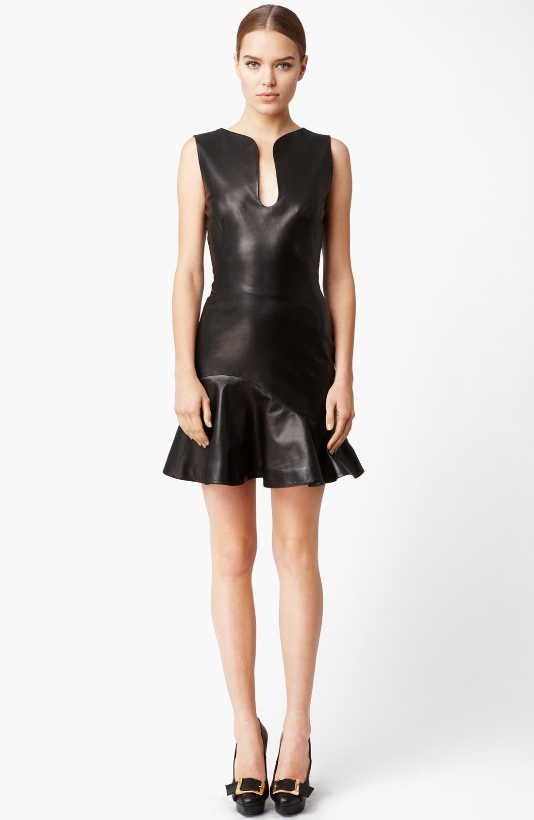Flounce Leather Dress, Main, color, 001