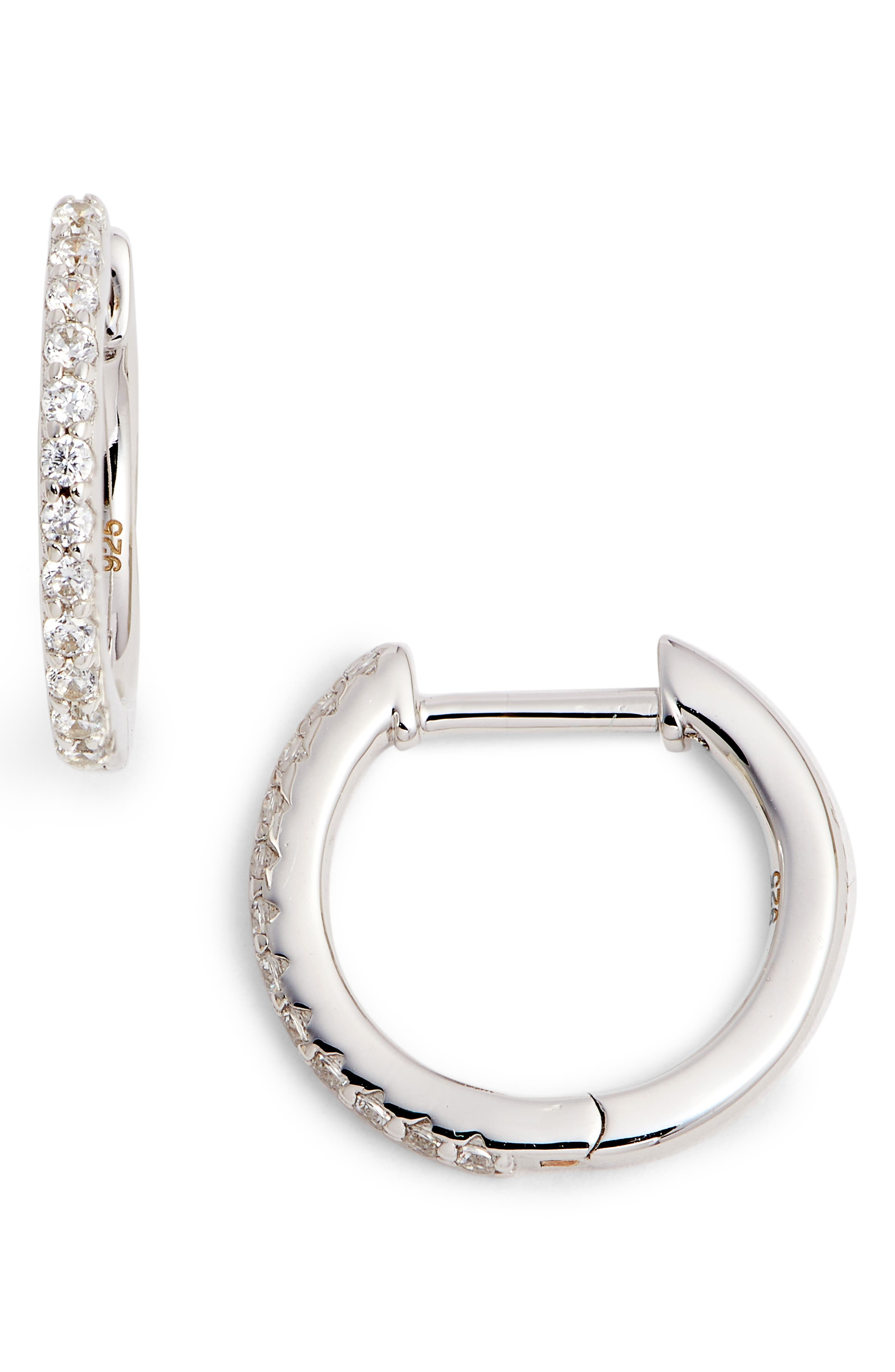 Round Hoop Earrings,                             Main thumbnail 1, color,                             SILVER/ CLEAR