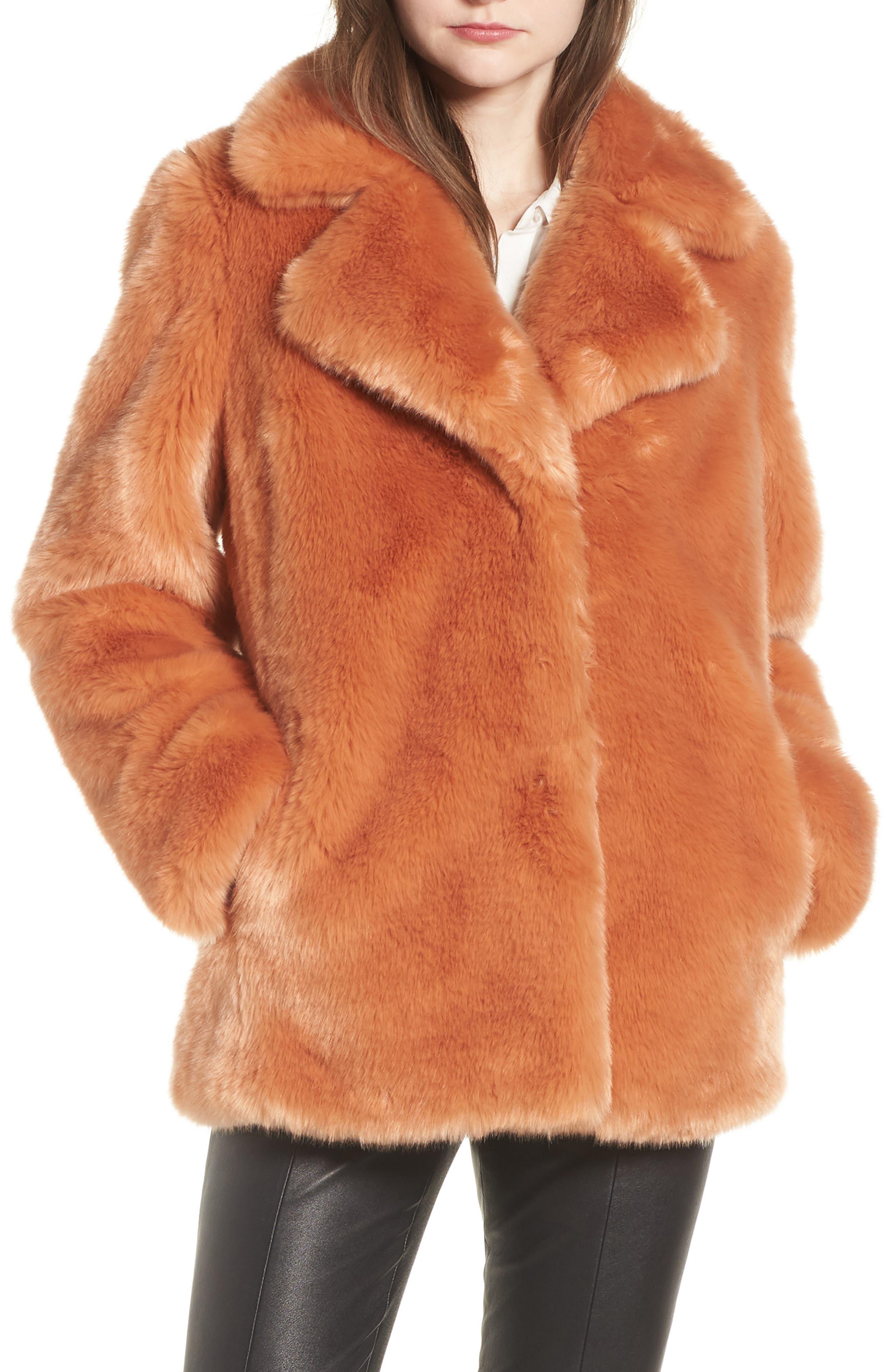 AVEC LES FILLES,                             Notch Collar Faux Fur Coat,                             Main thumbnail 1, color,                             669