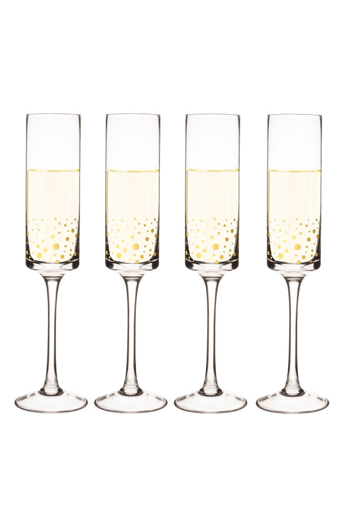Gold Dot Monogram Champagne Flutes,                             Main thumbnail 1, color,                             710