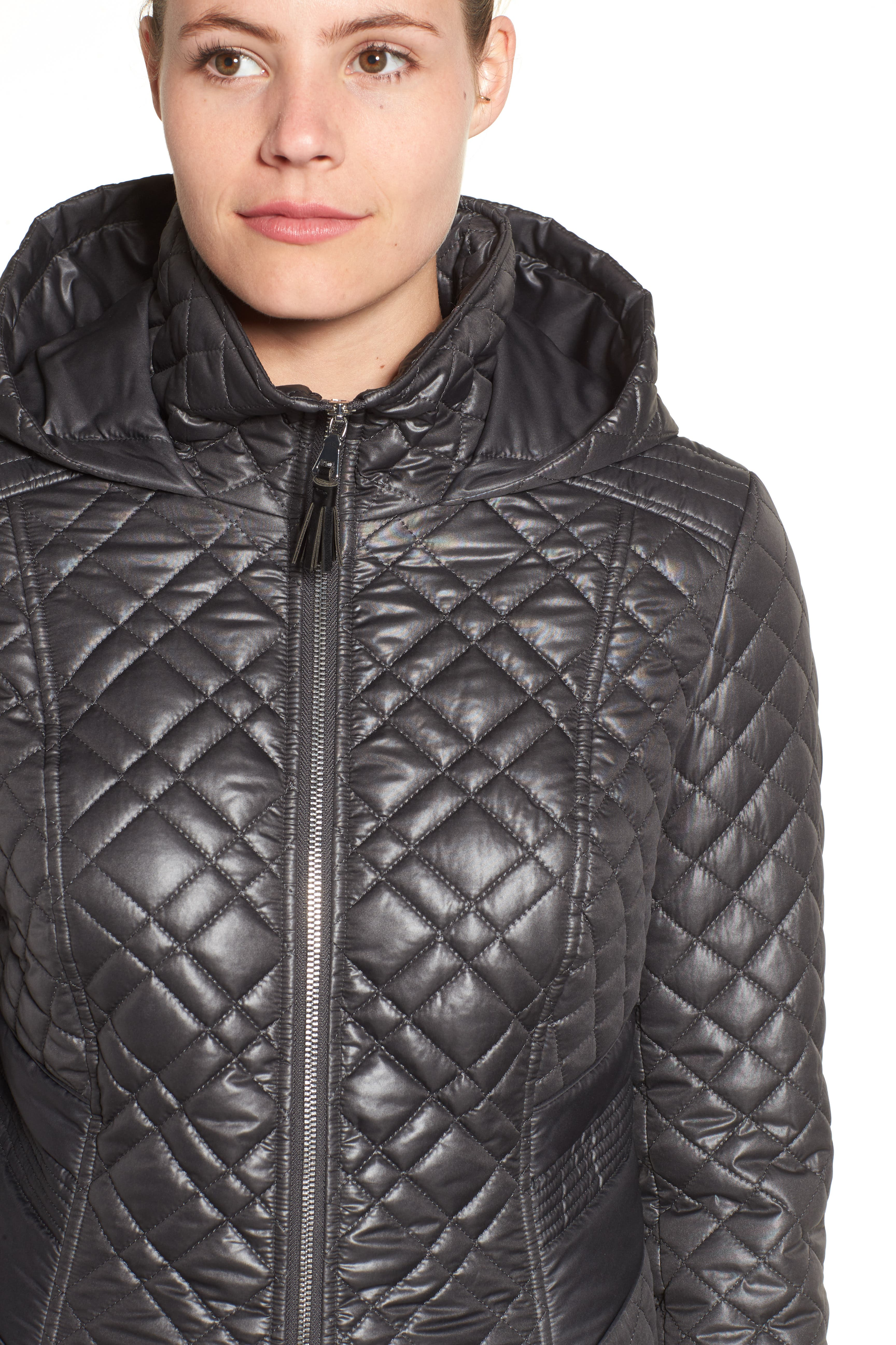 Tassel Detail Hooded Mix Quilt Coat,                             Alternate thumbnail 27, color,