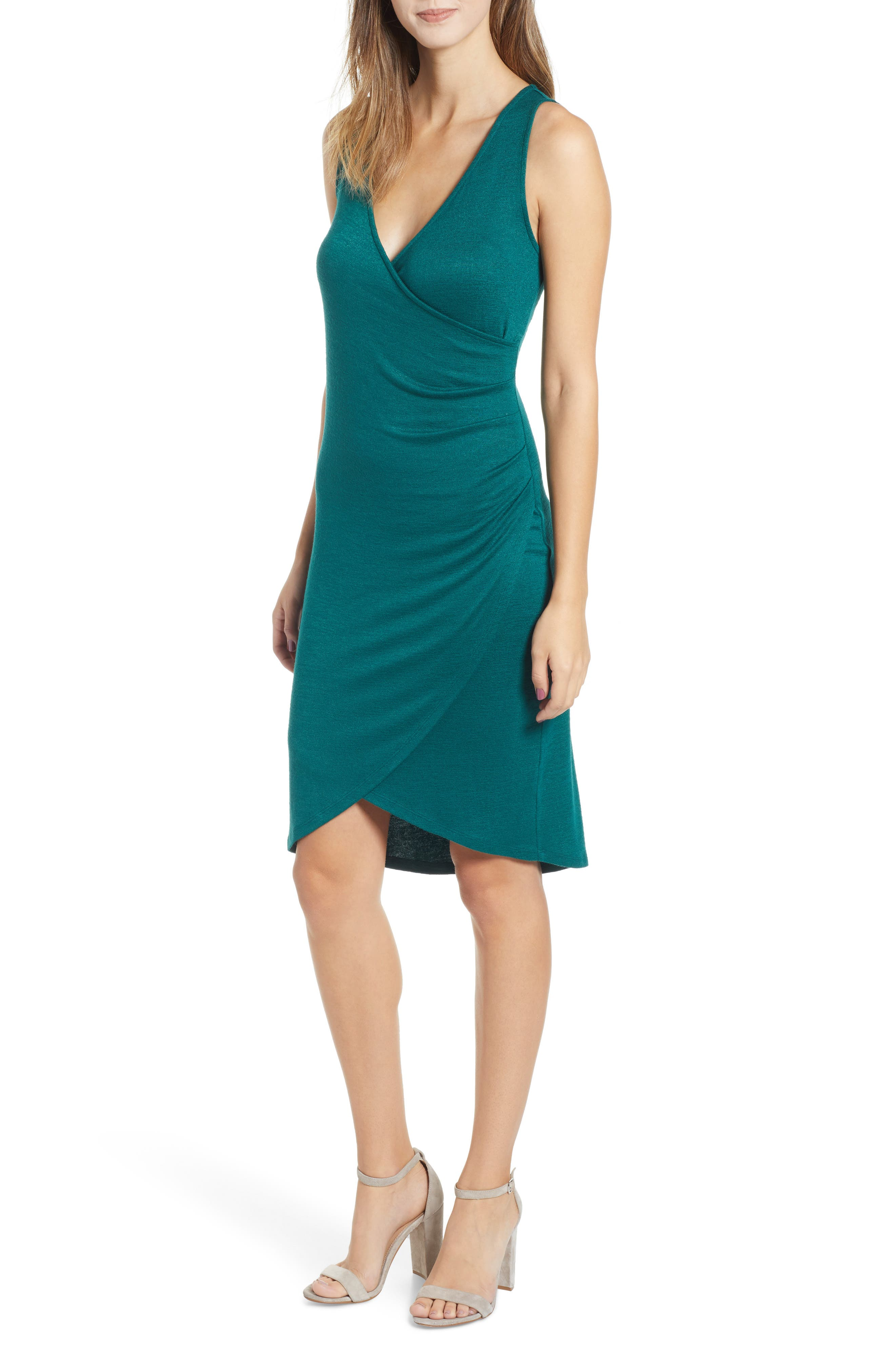 Leith Melange Wrap Dress, Green