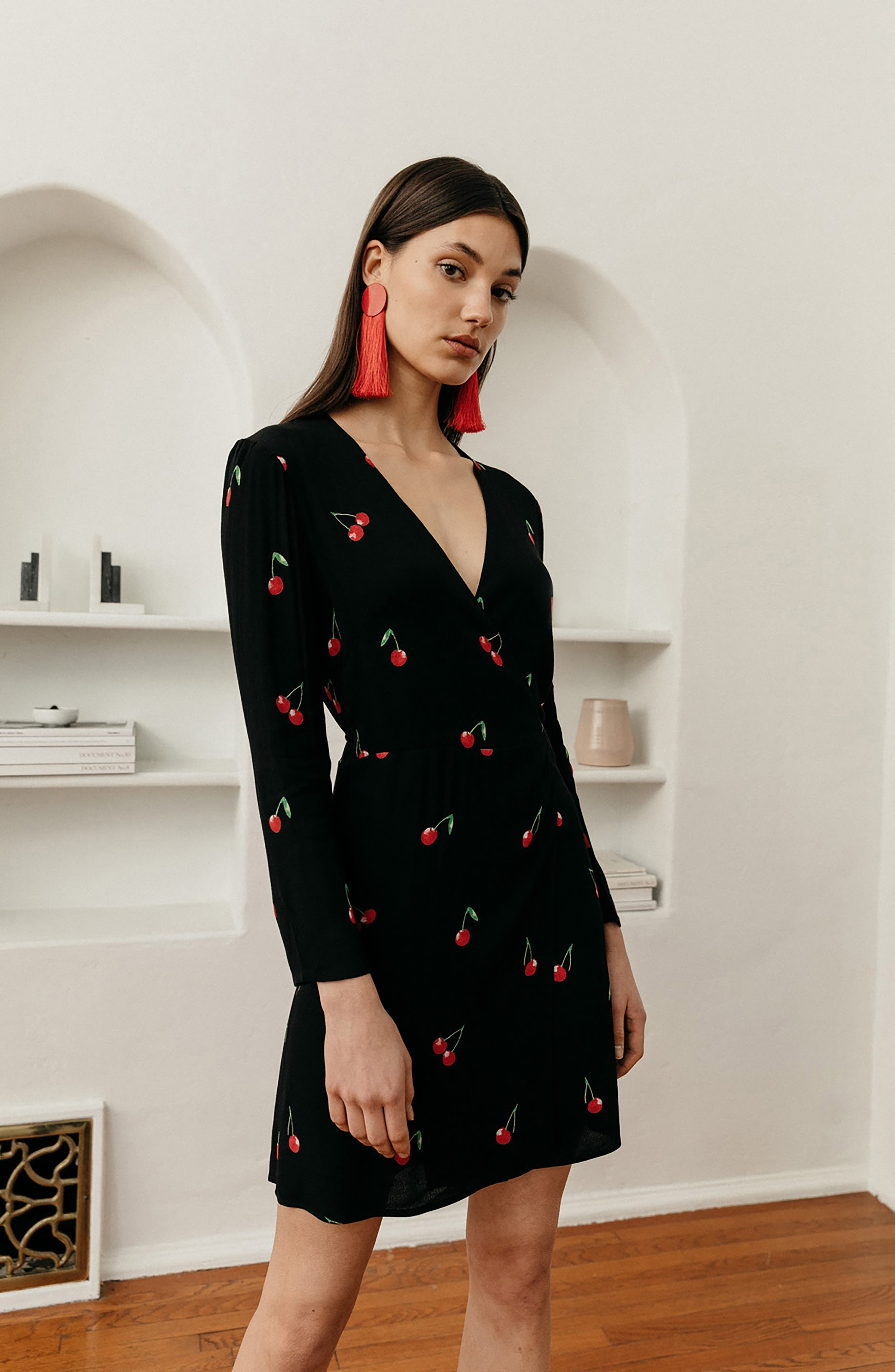 Lola Cherry Print Wrap Dress,                             Alternate thumbnail 8, color,                             CERISE