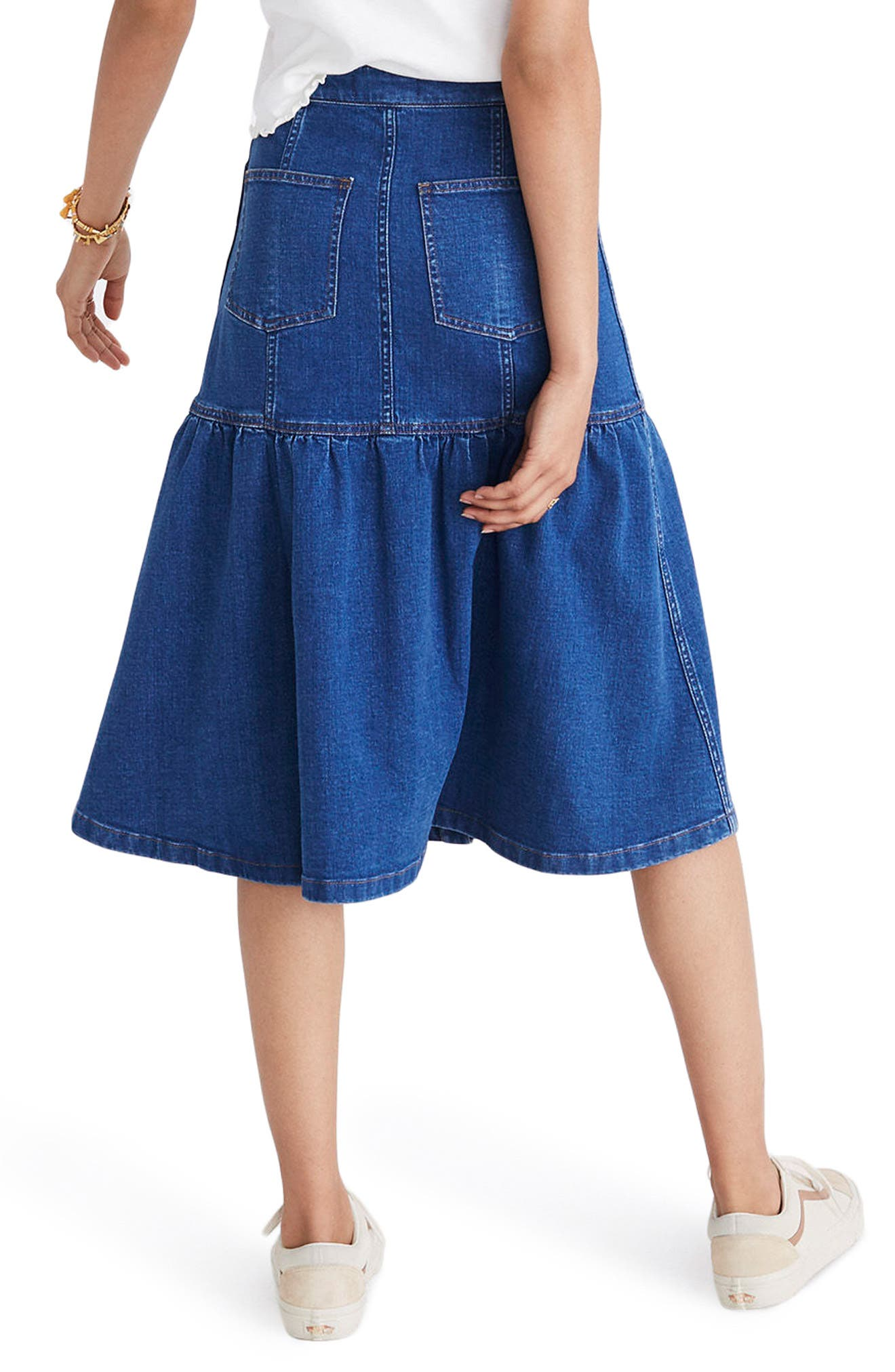 Bayview Tiered Denim Midi Skirt,                             Alternate thumbnail 2, color,                             400