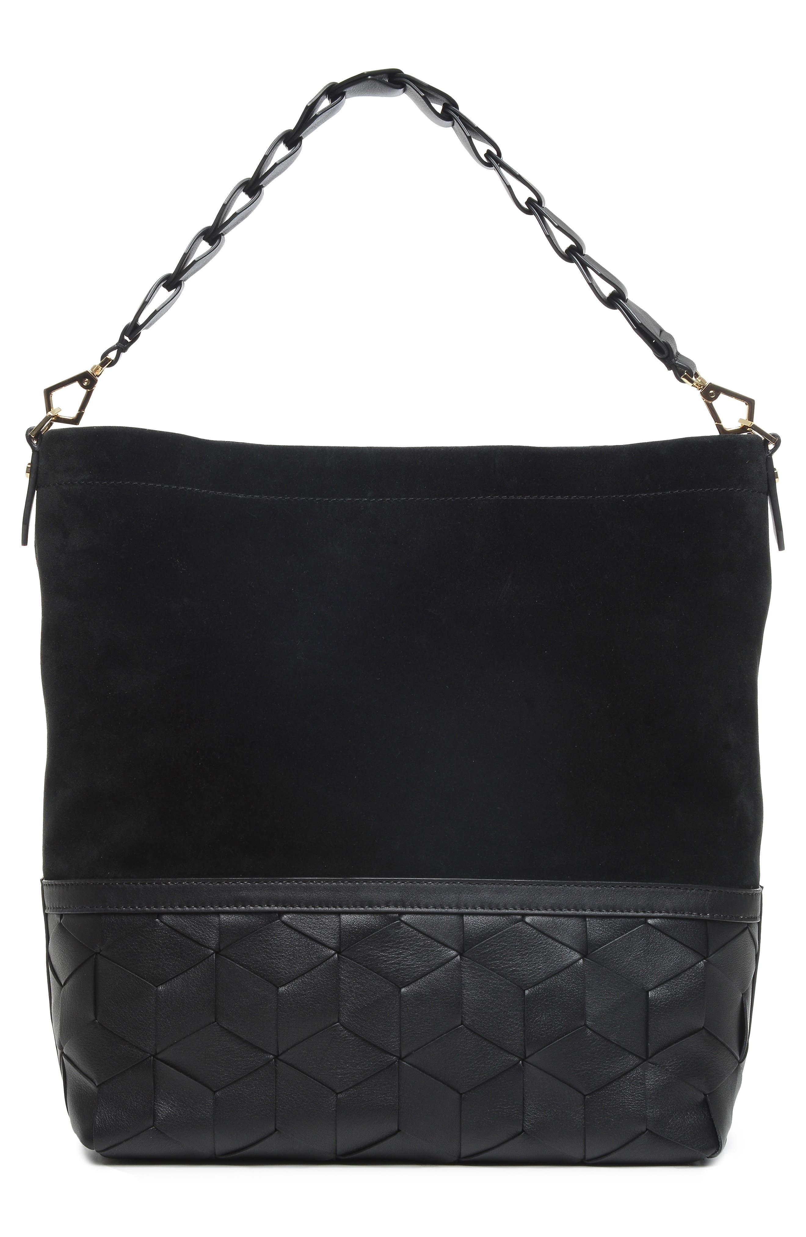 Promenade Leather & Suede Bucket Bag,                             Alternate thumbnail 3, color,                             001