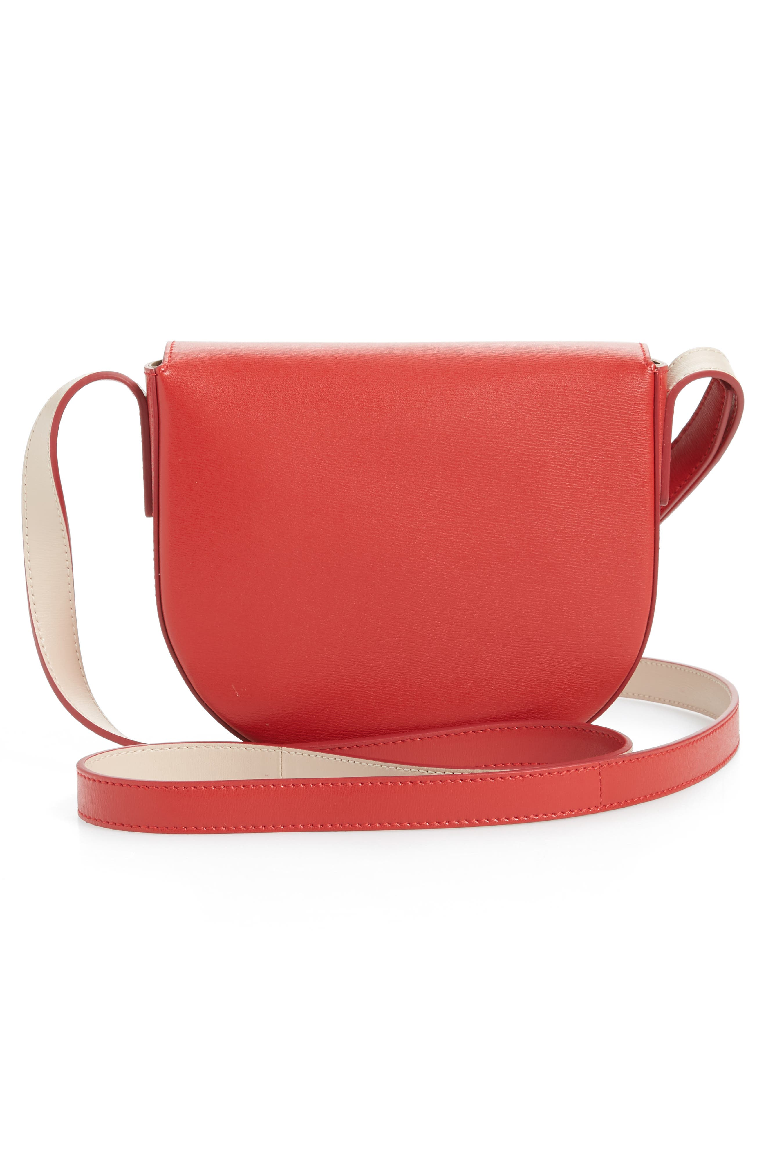 Quilted Gancio Crossbody Bag,                             Alternate thumbnail 3, color,                             LIPSTICK RED