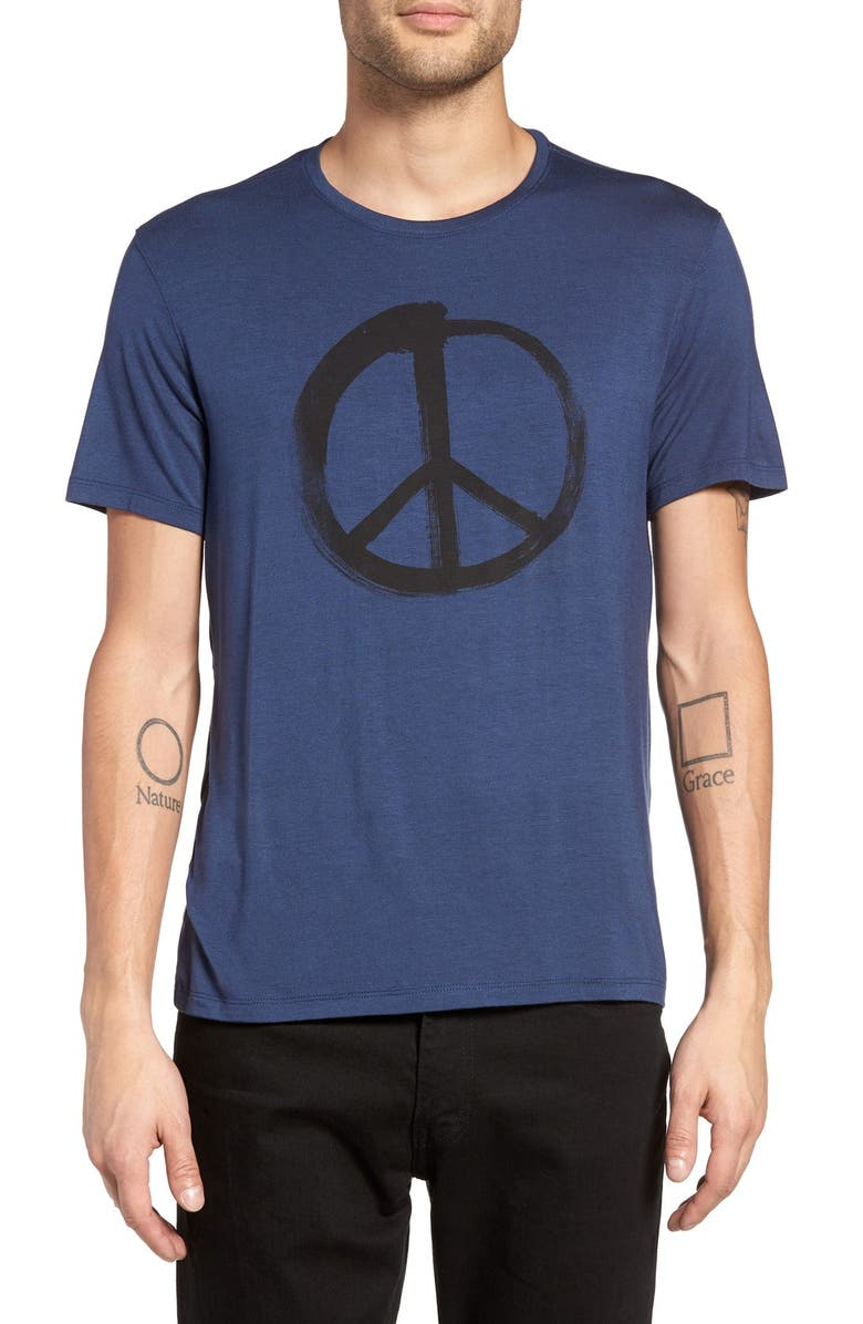 John Varvatos Star Usa Peace Symbol Graphic Crewneck T Shirt