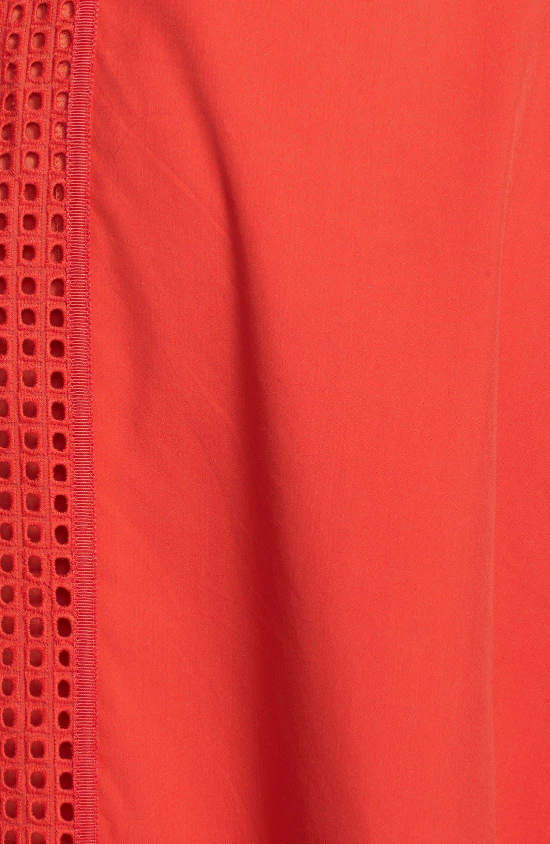 Rachel Roy Perforated Panel Cotton & Silk Poplin Dress,                             Alternate thumbnail 2, color,                             800