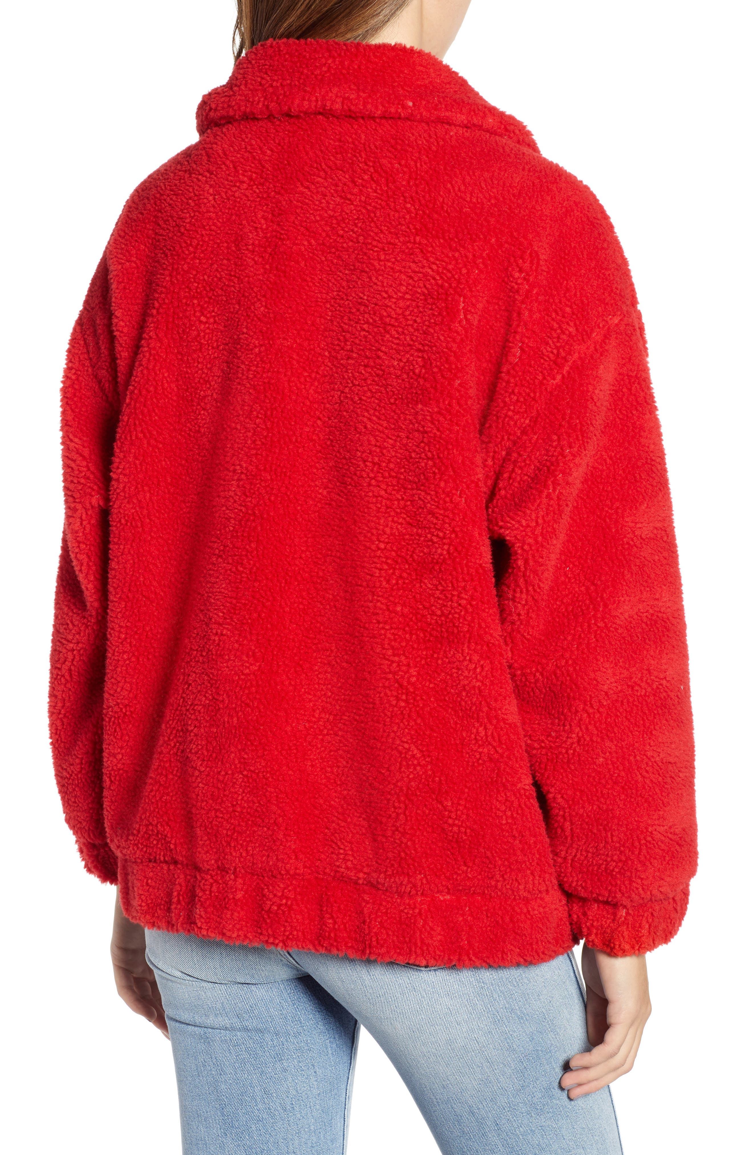 Oversized Fleece Jacket,                             Alternate thumbnail 2, color,                             RED