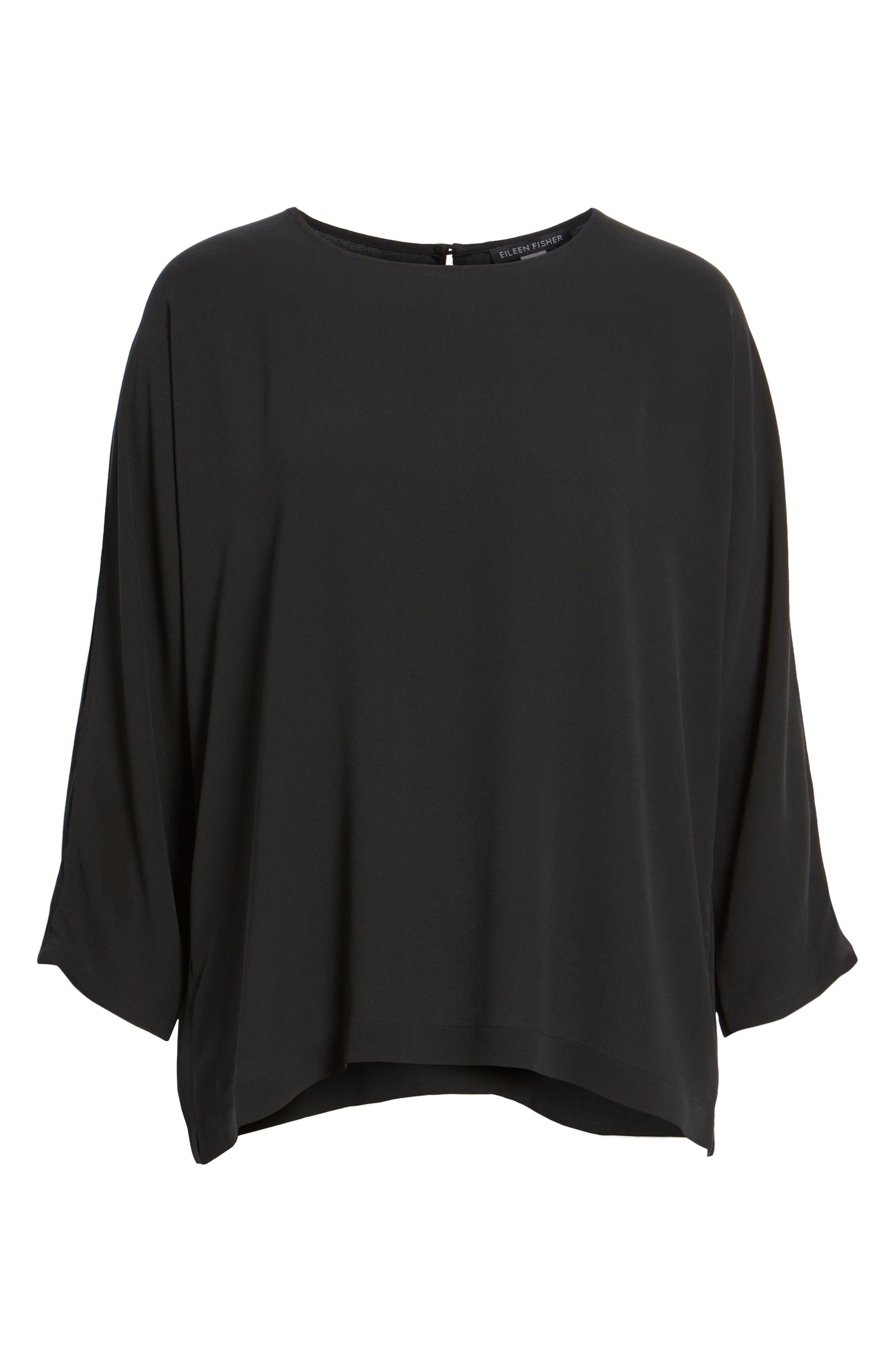 Slit Sleeve Silk Top,                             Alternate thumbnail 16, color,