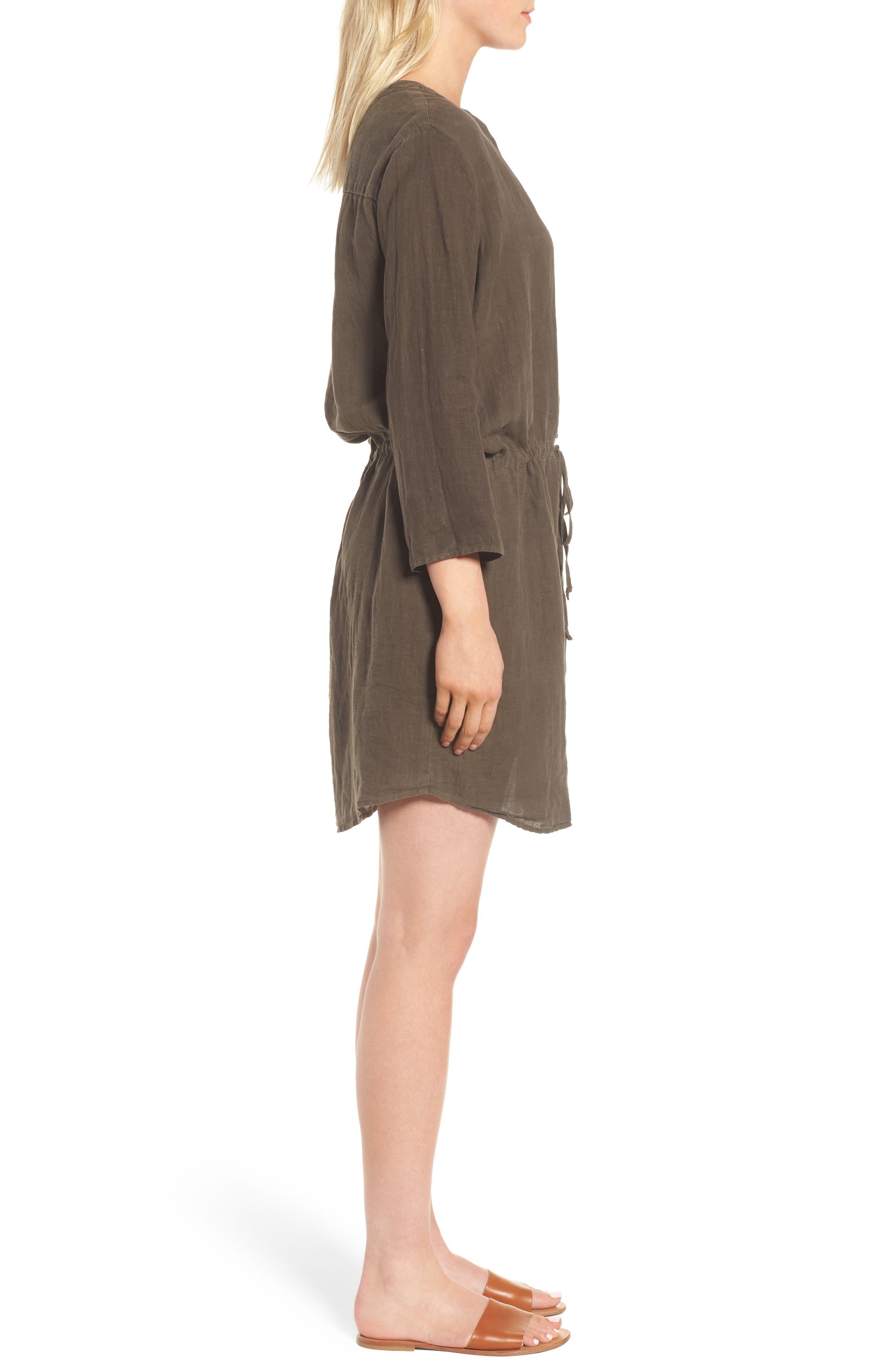Linen Drawstring Shirtdress,                             Alternate thumbnail 3, color,                             337