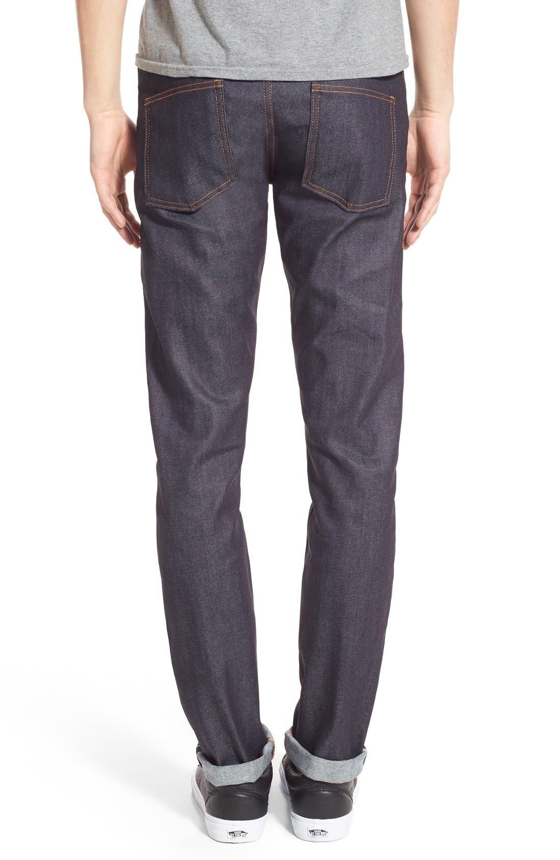 'Super Skinny Guy' Skinny Fit Selvedge Jeans,                             Alternate thumbnail 4, color,                             11OZ STRETCH