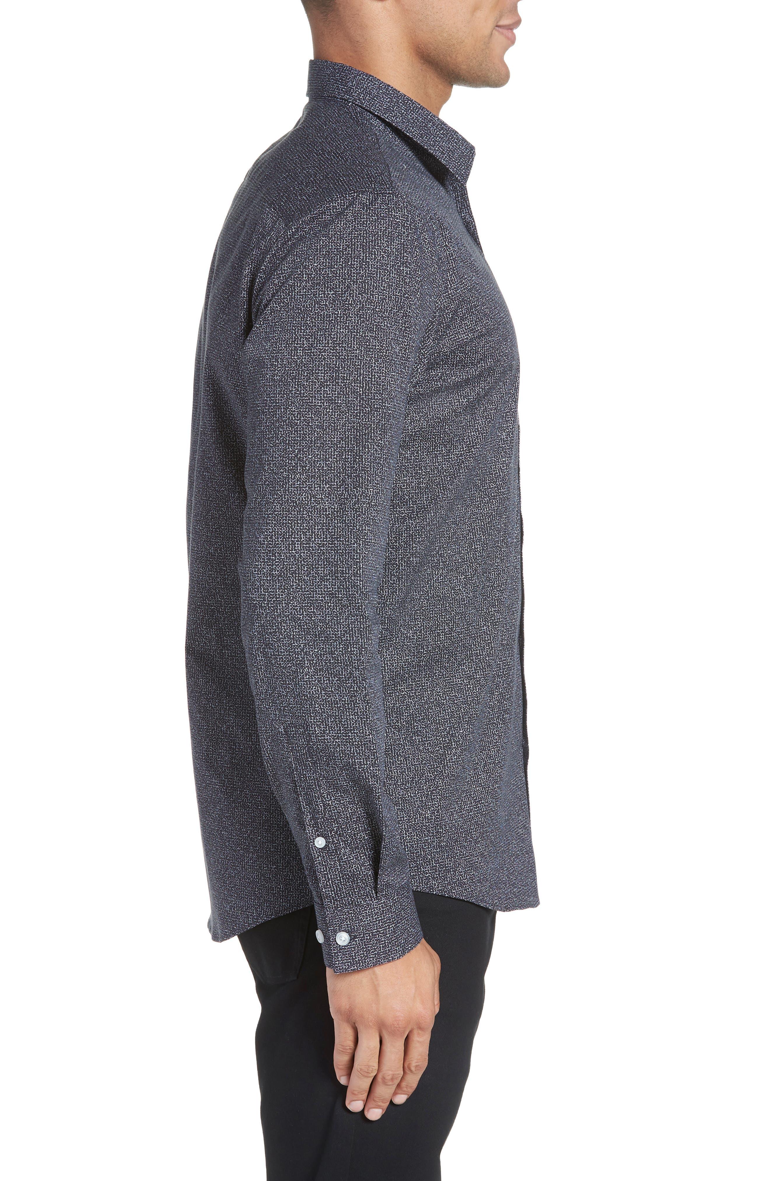 Trim Fit Stretch Check Sport Shirt,                             Alternate thumbnail 3, color,