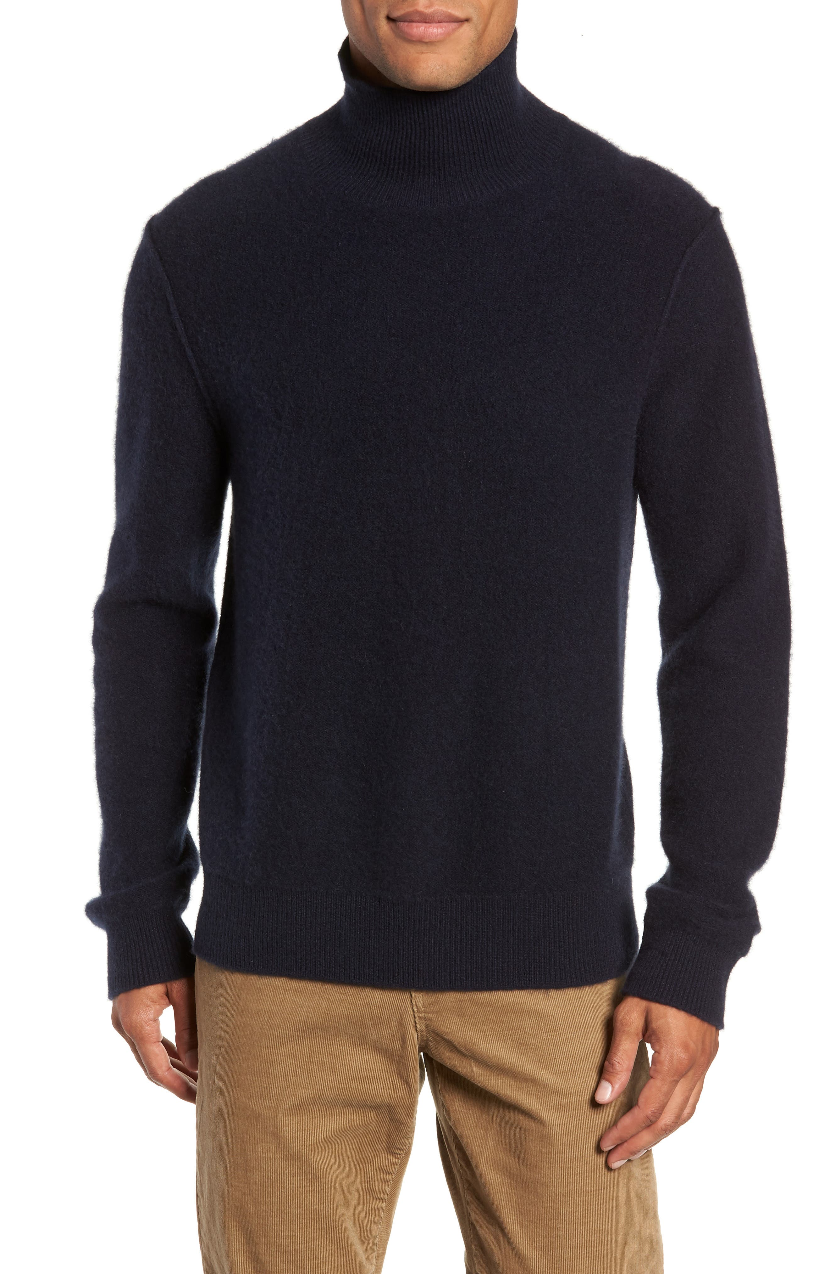 Ribbed Cashmere Turtleneck Sweater,                             Main thumbnail 1, color,                             COASTAL