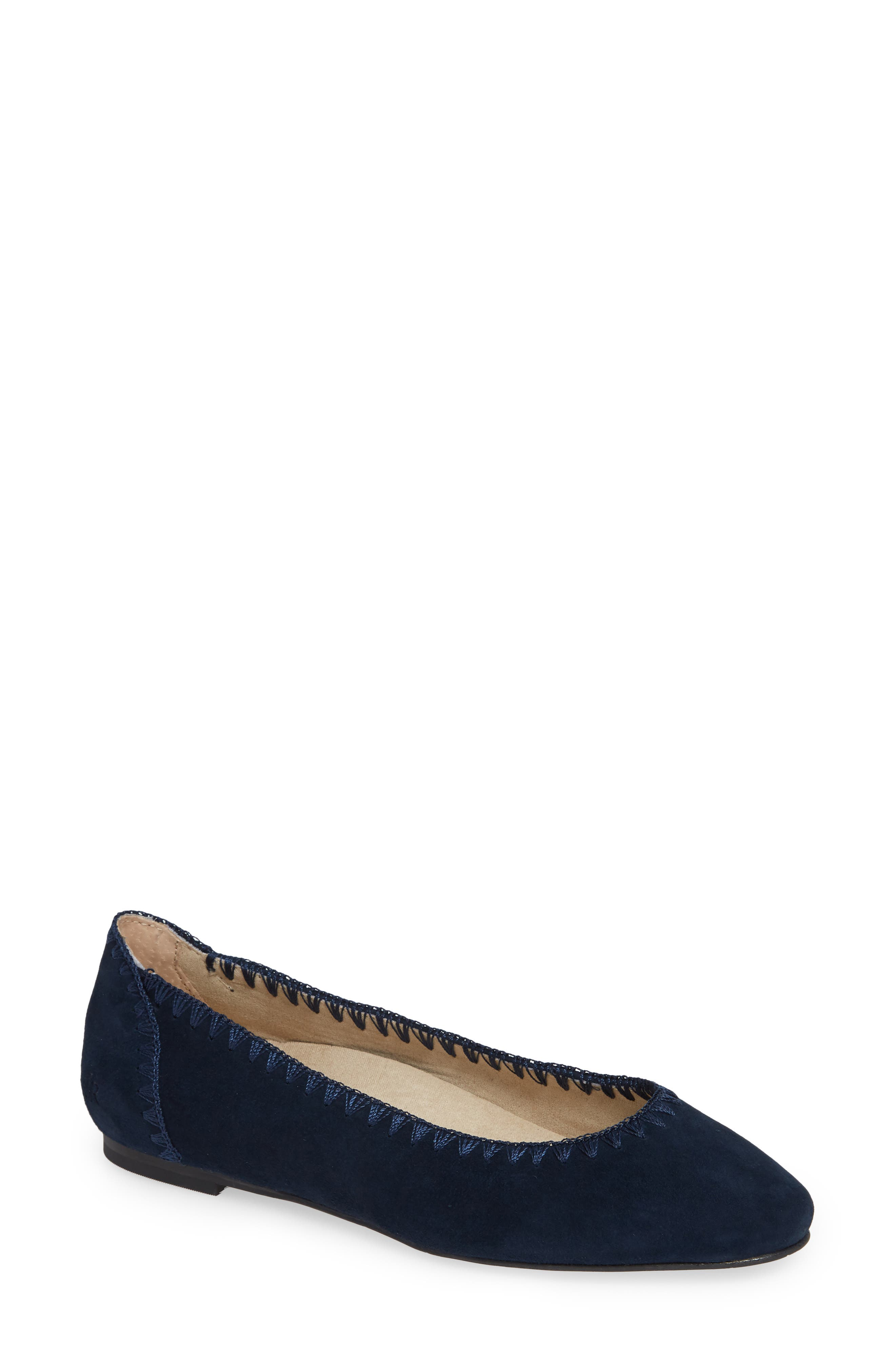 Ellie II Flat,                             Main thumbnail 1, color,                             MIDNIGHT BLUE SUEDE