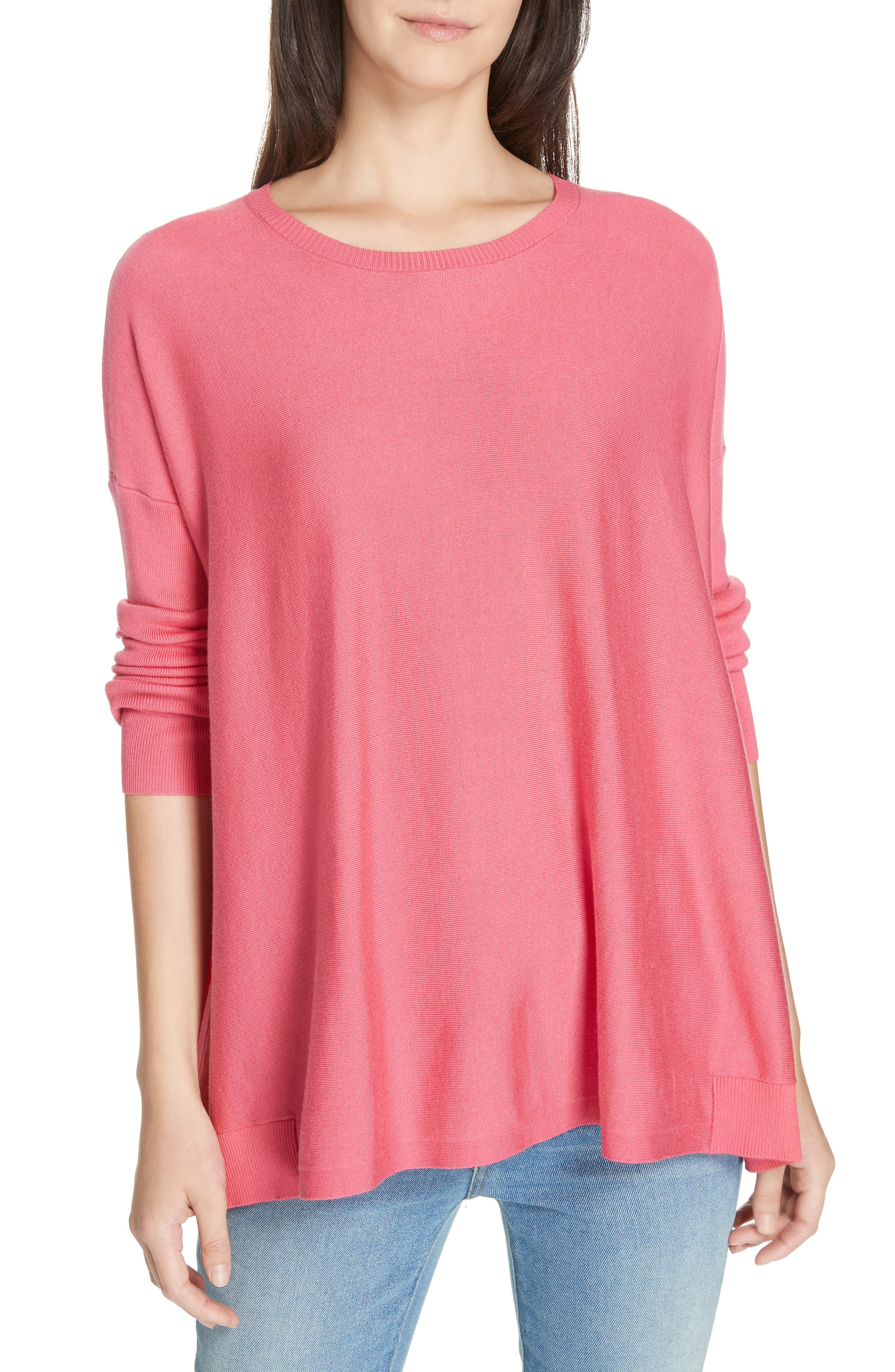 Tencel<sup>®</sup> Lyocell Blend Sweater, Main, color, CHERRY LANE