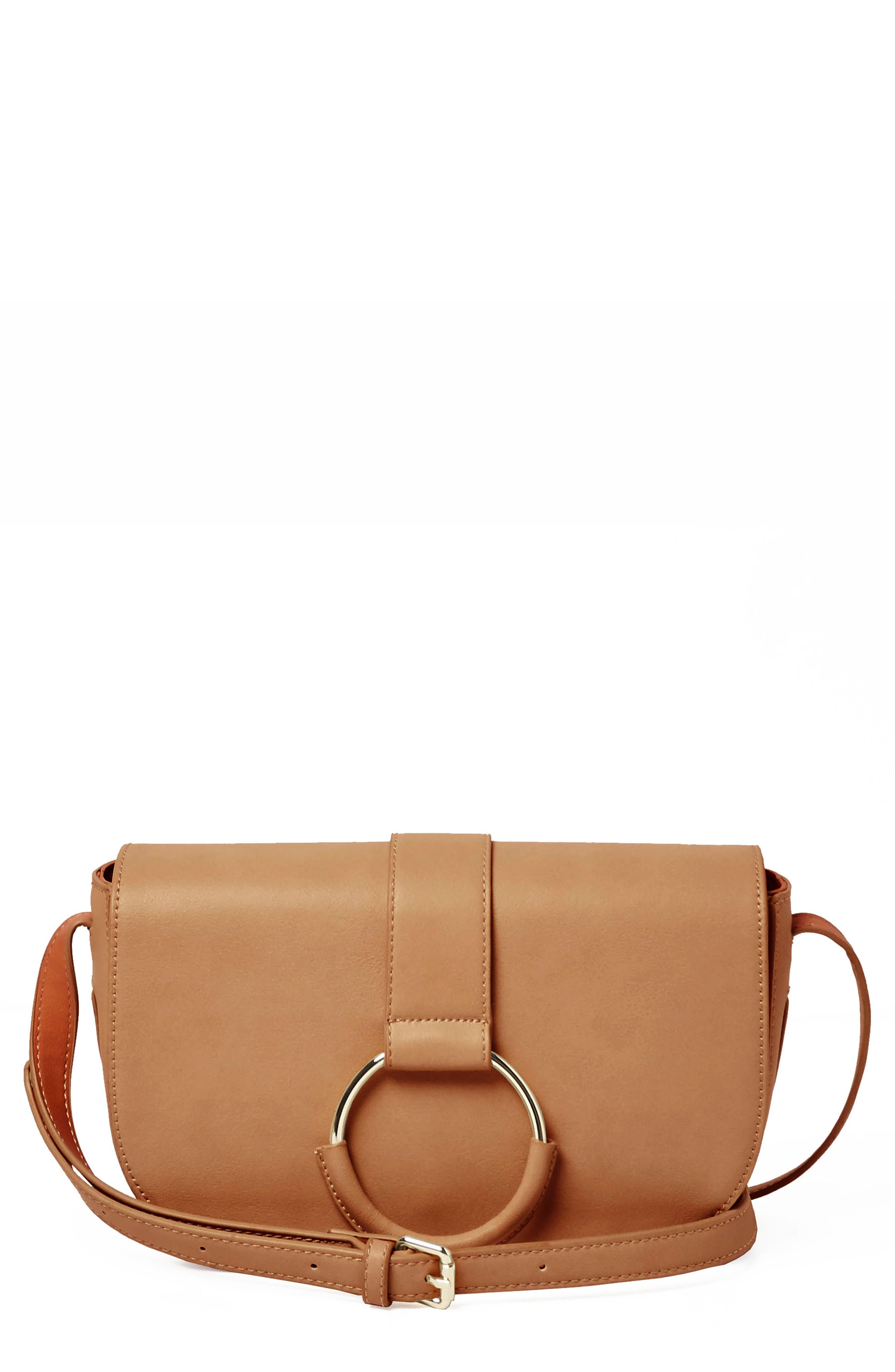 Lolita Vegan Leather Crossbody Bag,                             Main thumbnail 1, color,                             CAMEL