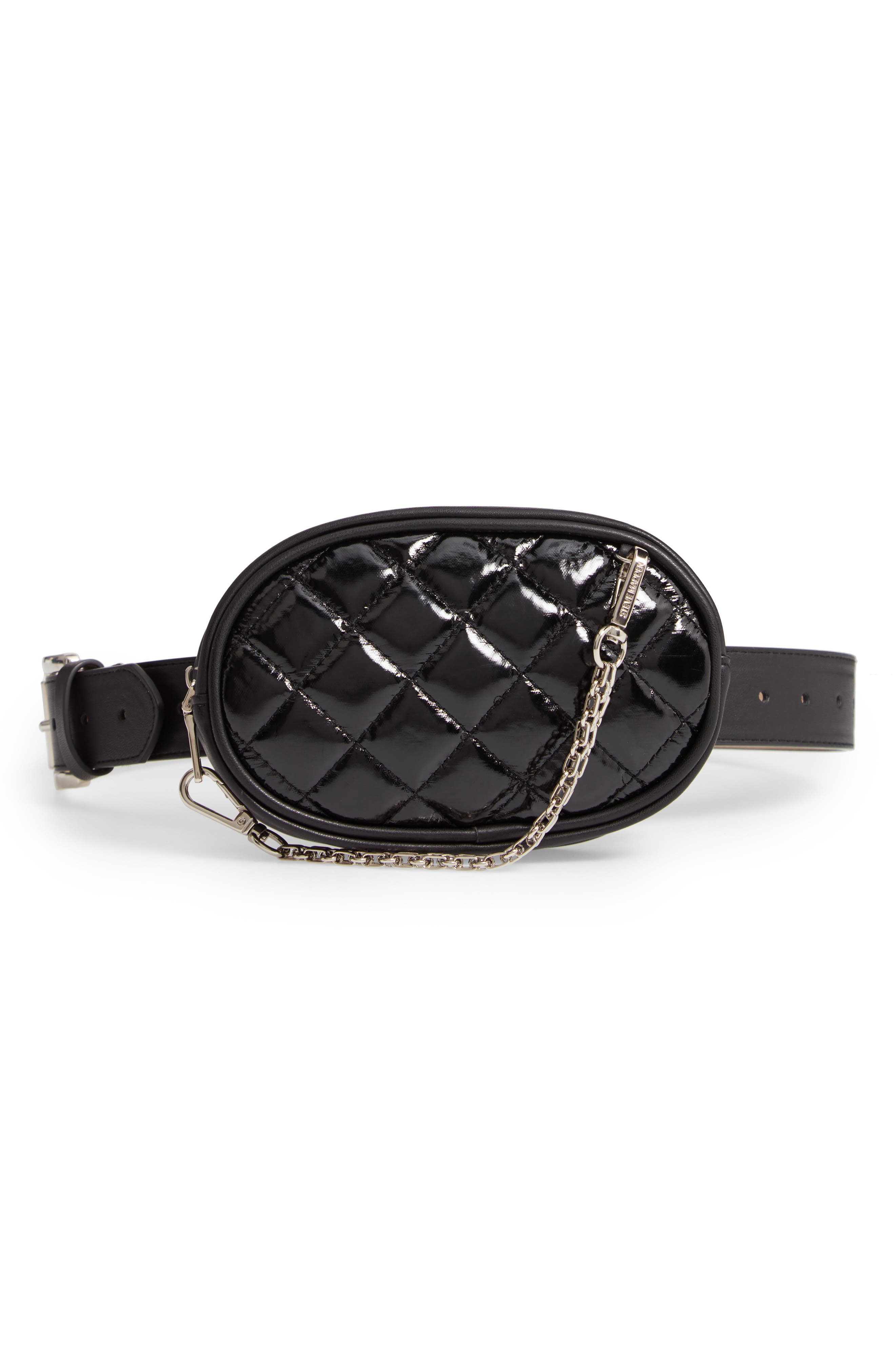 Quilted Faux Leather Belt Bag,                         Main,                         color, 001