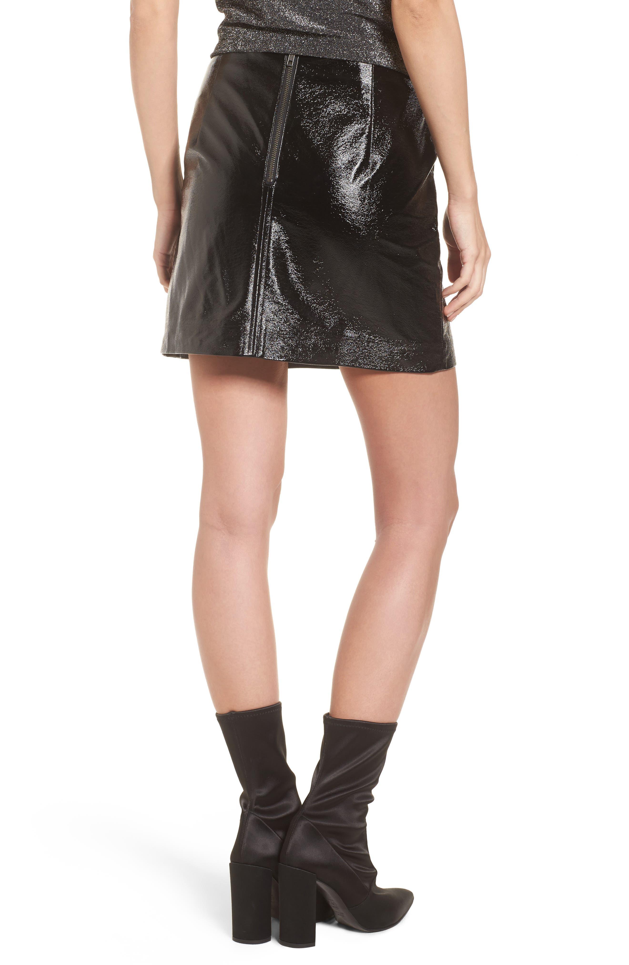 Faux Leather Skirt,                             Alternate thumbnail 2, color,