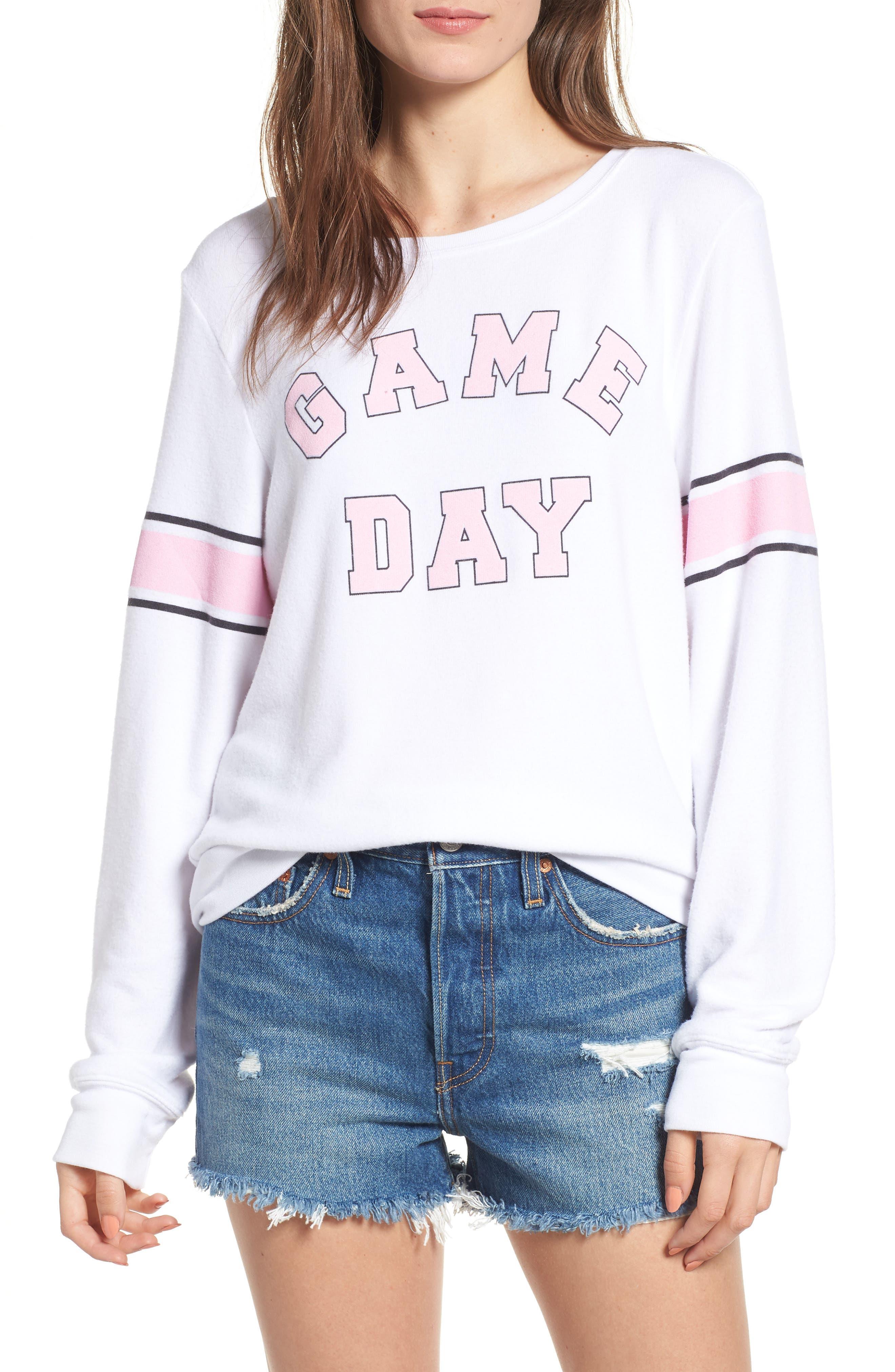 Game Day Baggy Beach Jumper Sweatshirt,                         Main,                         color, CLEAN WHITE