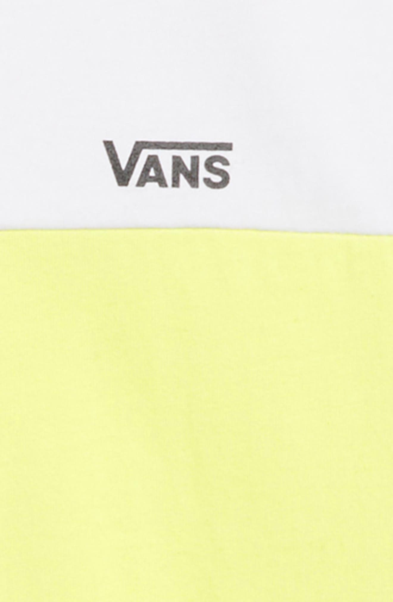 VANS,                             Colorblock T-Shirt,                             Alternate thumbnail 2, color,                             WHITE/ SUNNY LIME