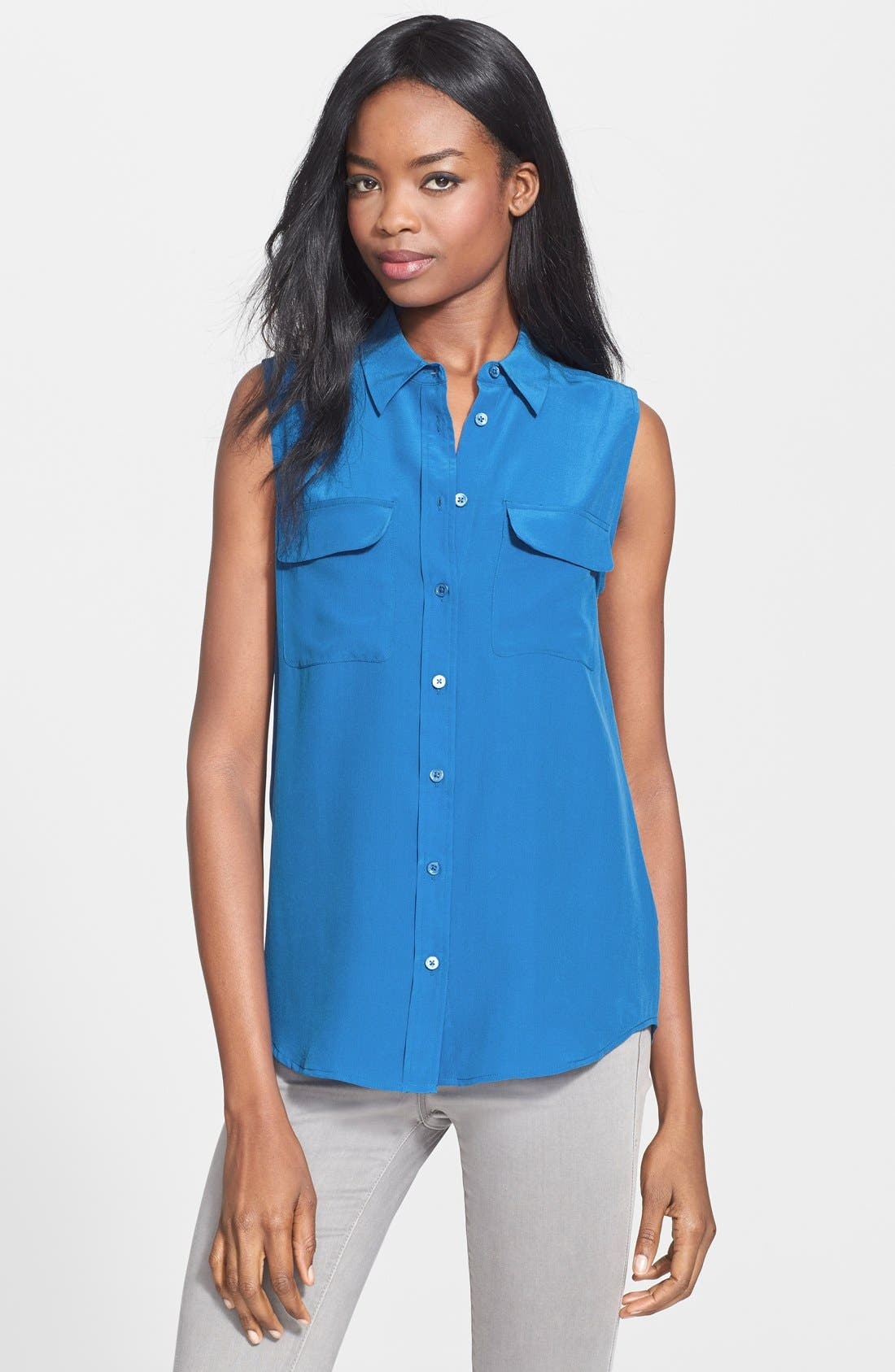 'Slim Signature' Sleeveless Silk Shirt,                             Main thumbnail 21, color,
