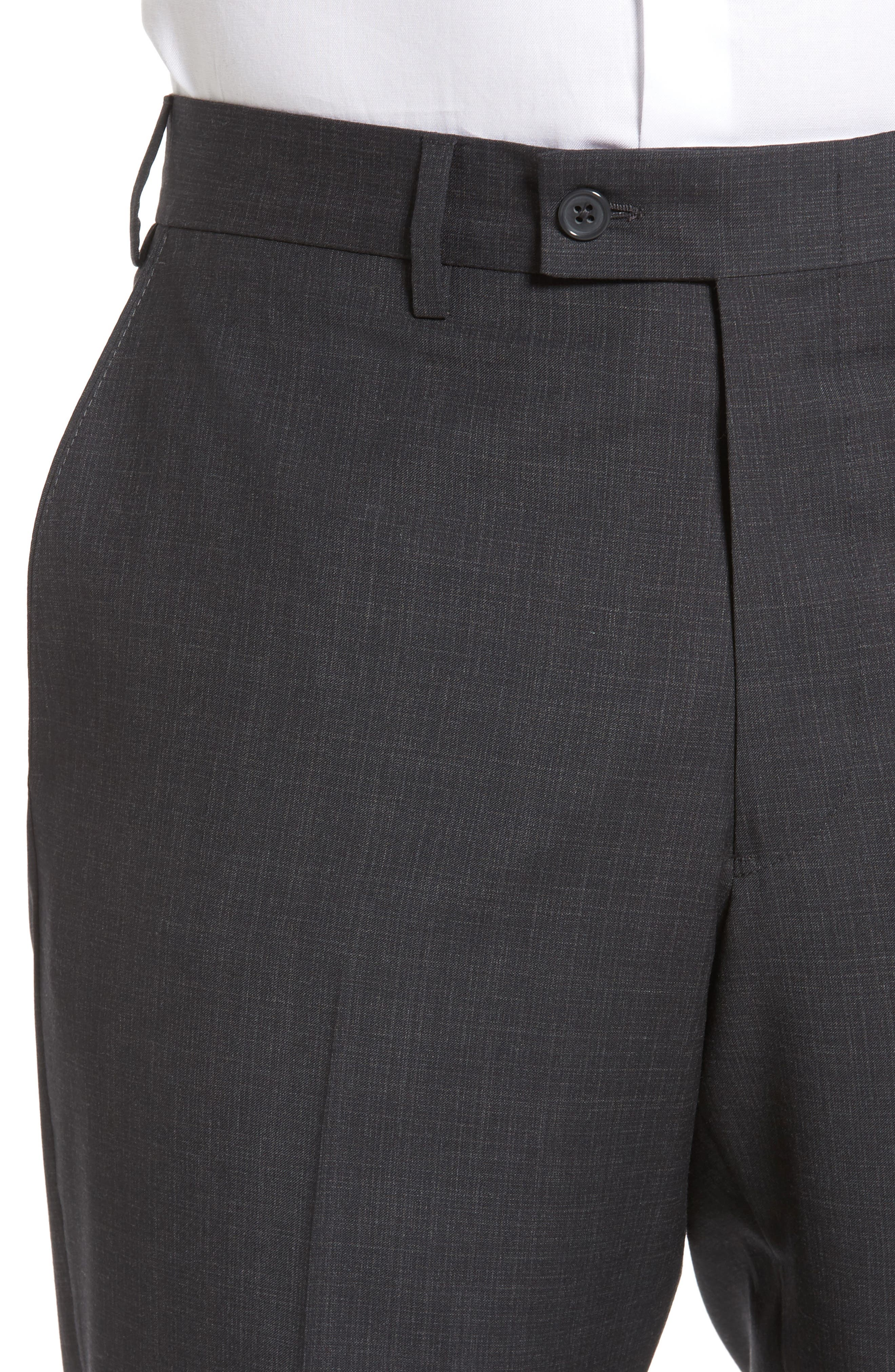 Flat Front Solid Wool Trousers,                             Alternate thumbnail 14, color,