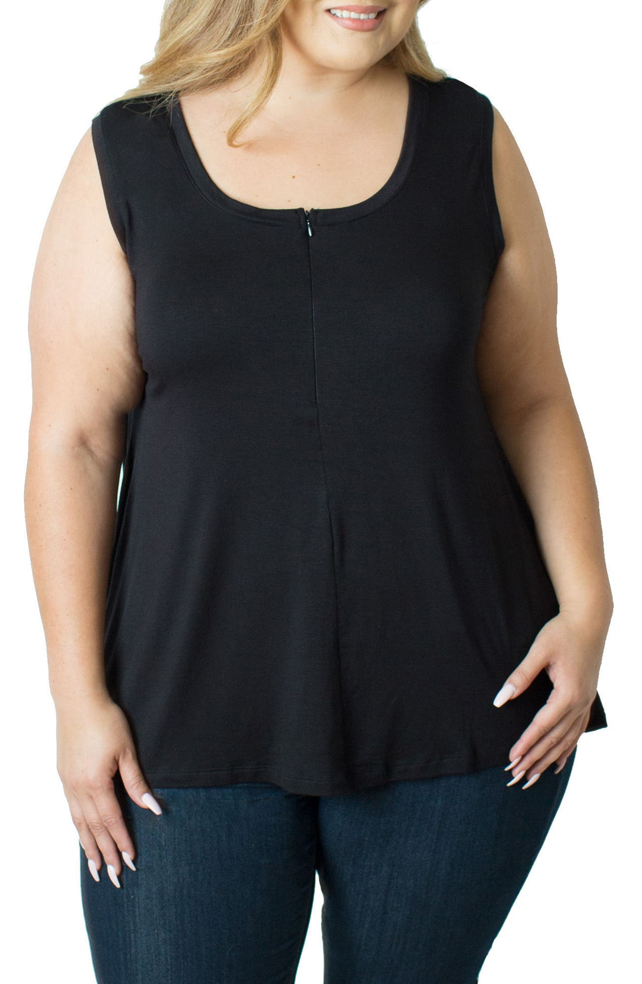 Zip Neck Nursing Tank,                         Main,                         color, BLACK