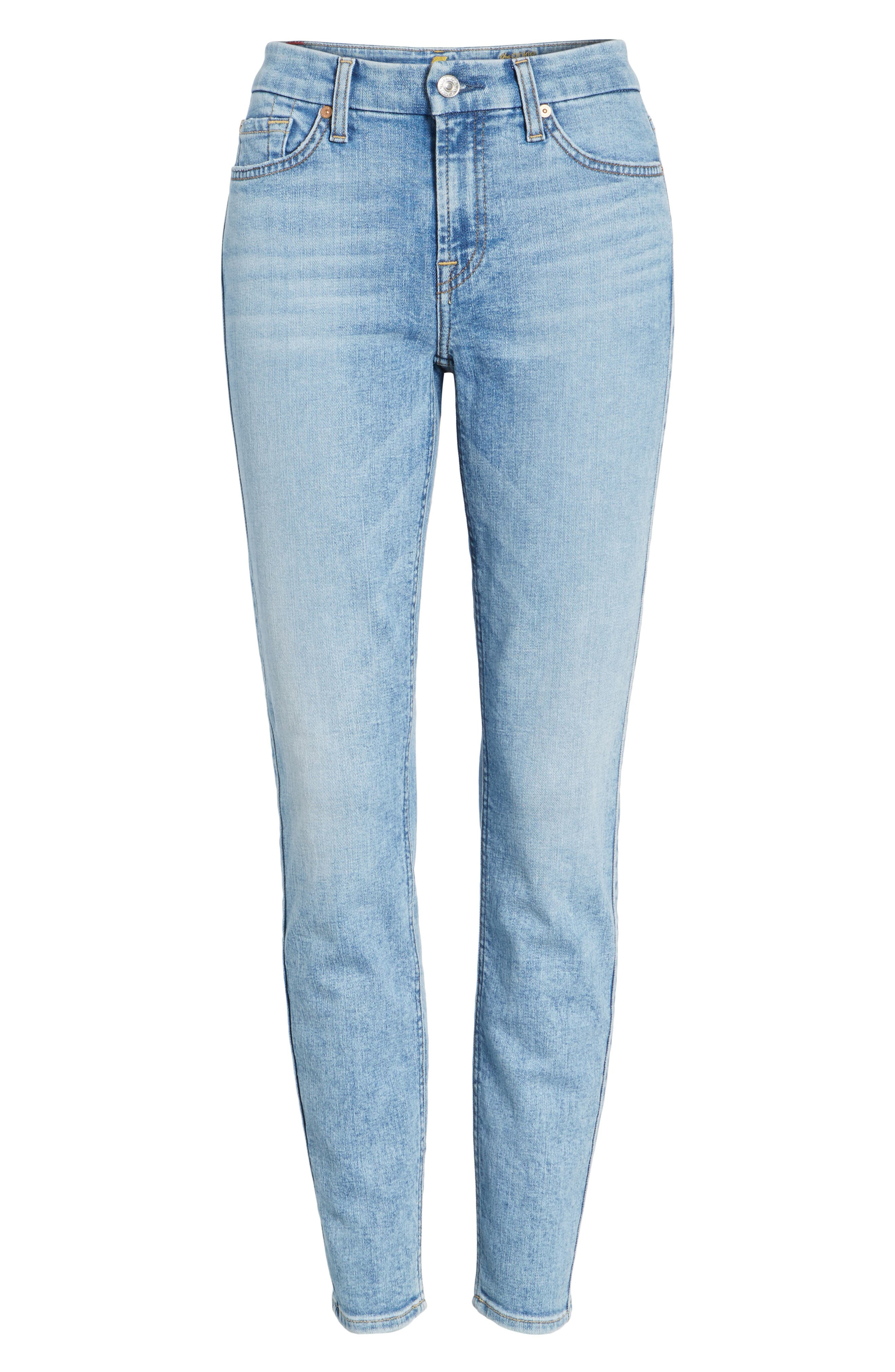 Embellished & Ripped Ankle Skinny Jeans,                             Alternate thumbnail 6, color,                             405