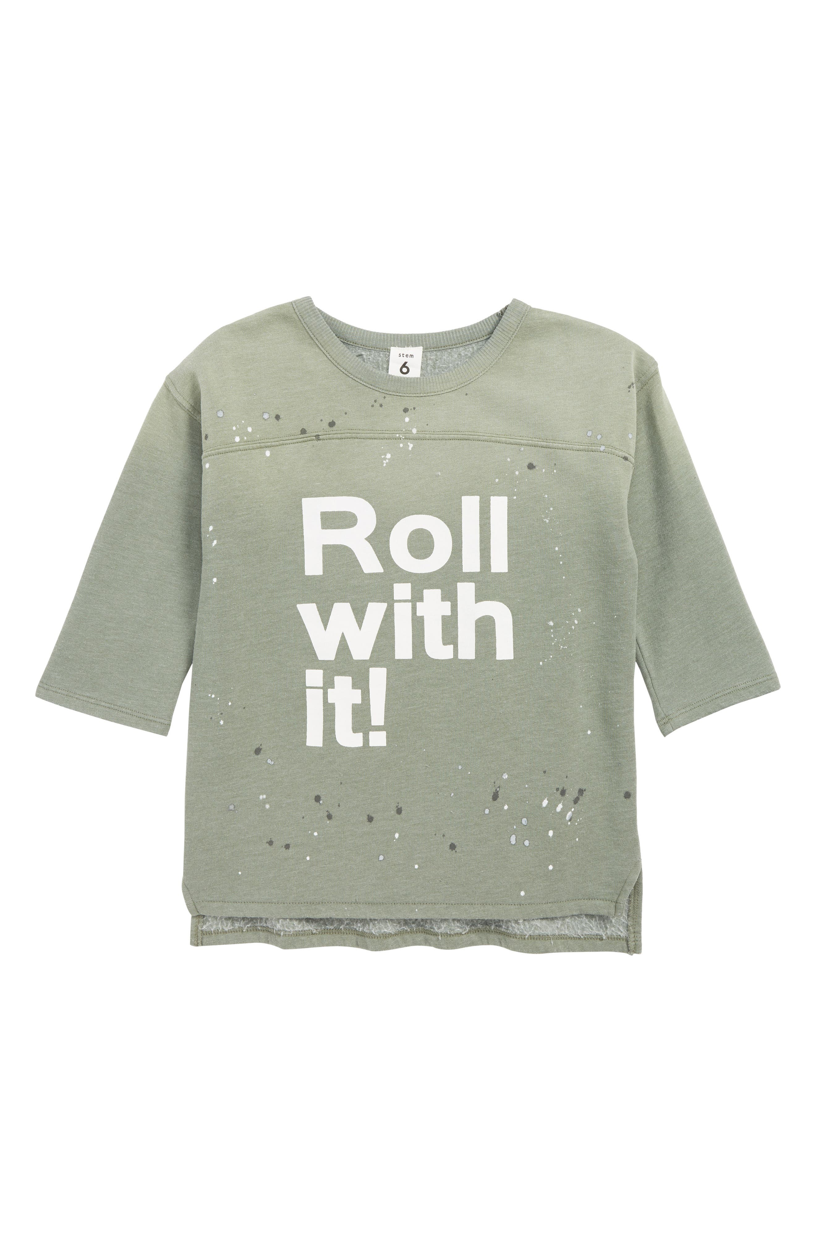 STEM,                             Roll With It Pullover,                             Main thumbnail 1, color,                             GREEN AGAVE ROLL WITH IT