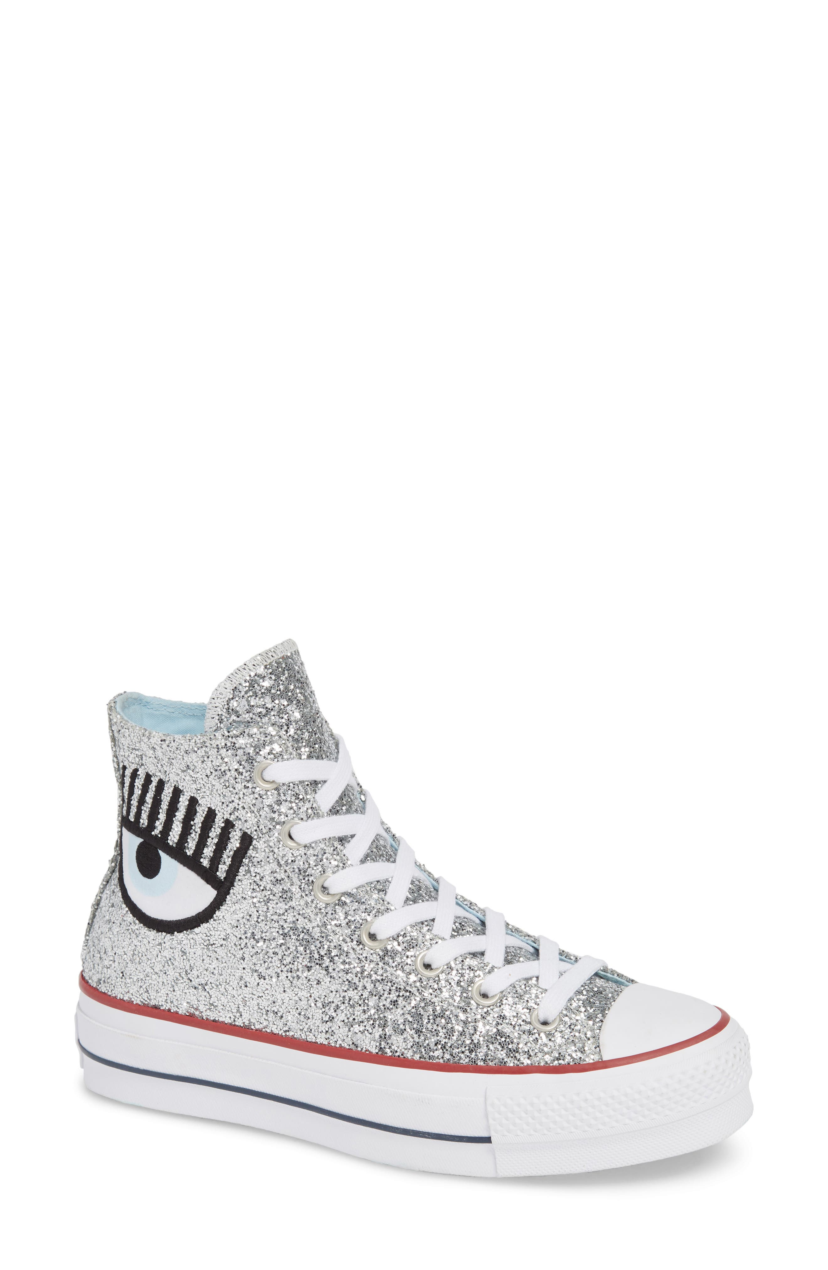 X Chiara Ferragni Women'S Chuck Taylor Glitter High Top Sneakers in Silver Glitter