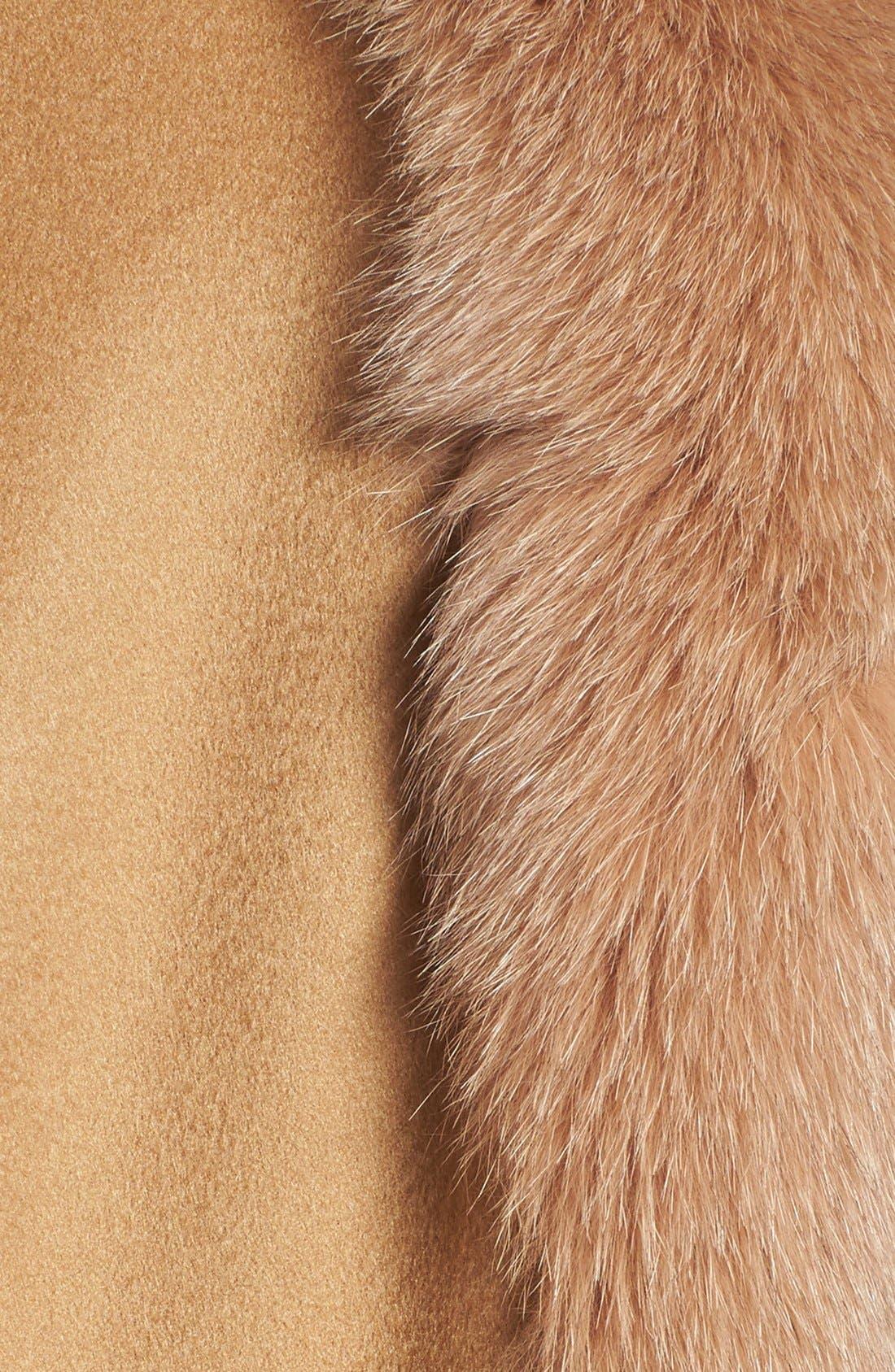 Genuine Fox Fur Trim Short Cashmere Cape,                             Alternate thumbnail 7, color,