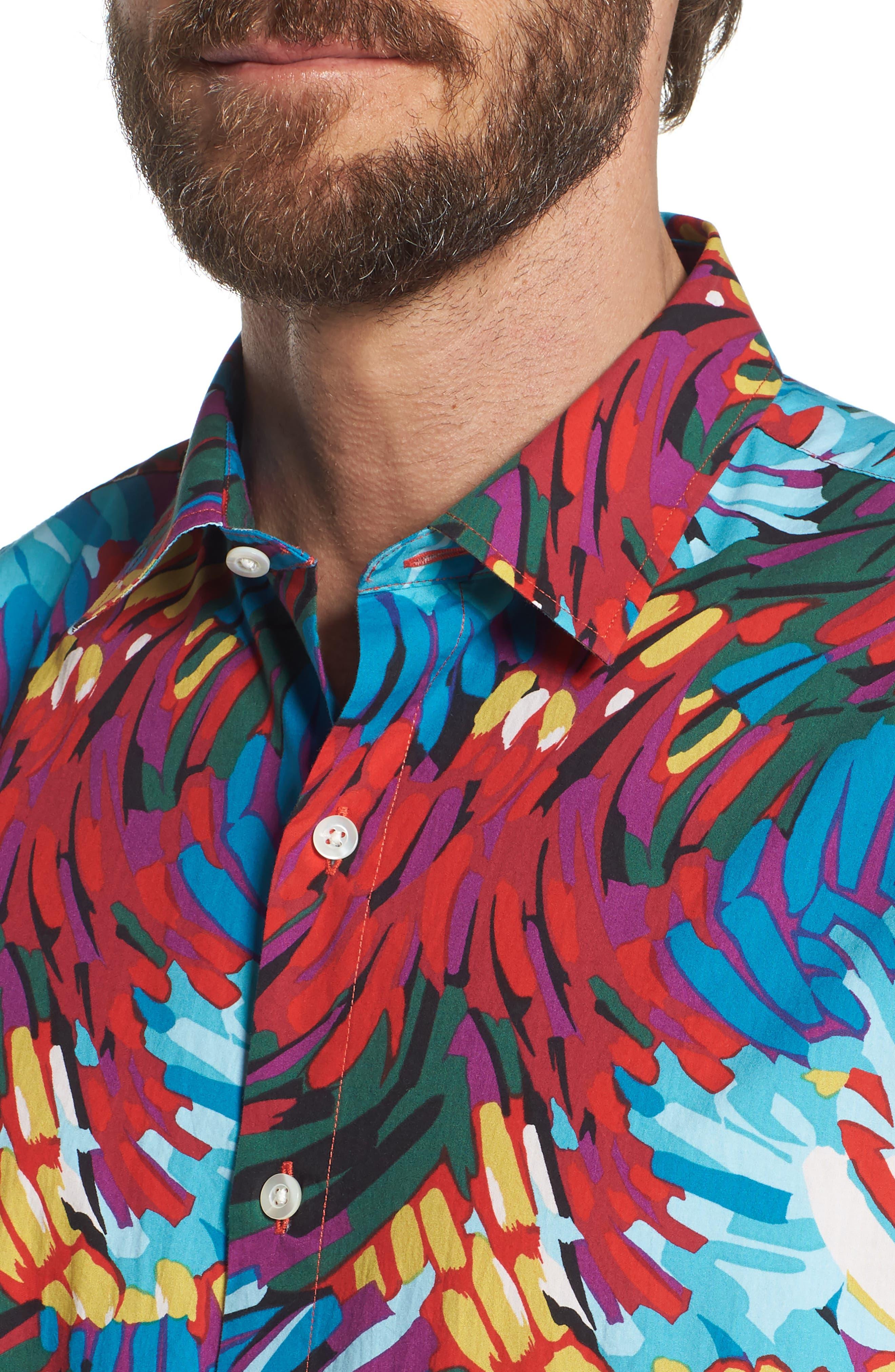 Premium Slim Fit Print Sport Shirt,                             Alternate thumbnail 4, color,