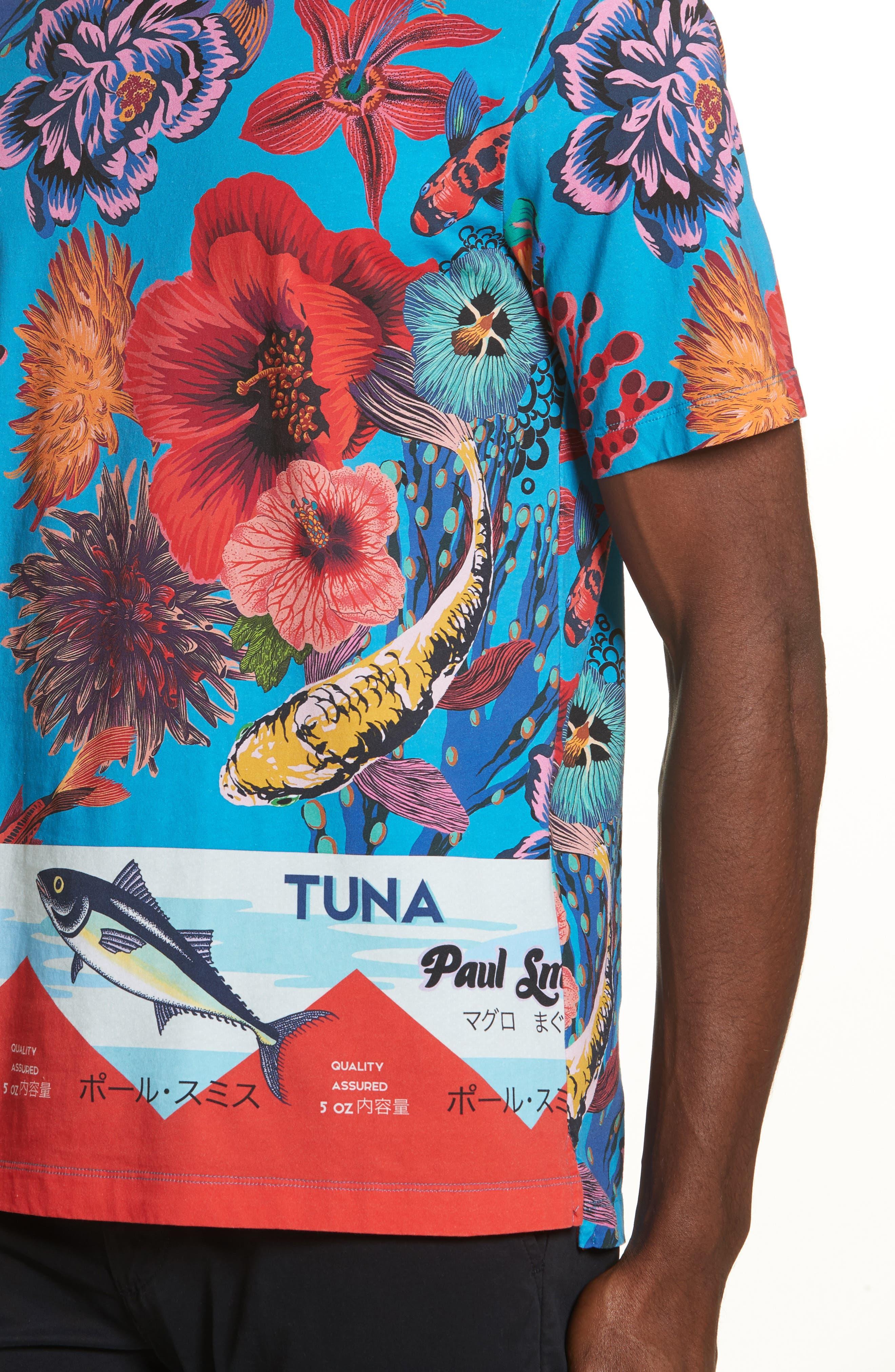 Fish Print T-Shirt,                             Alternate thumbnail 4, color,                             454