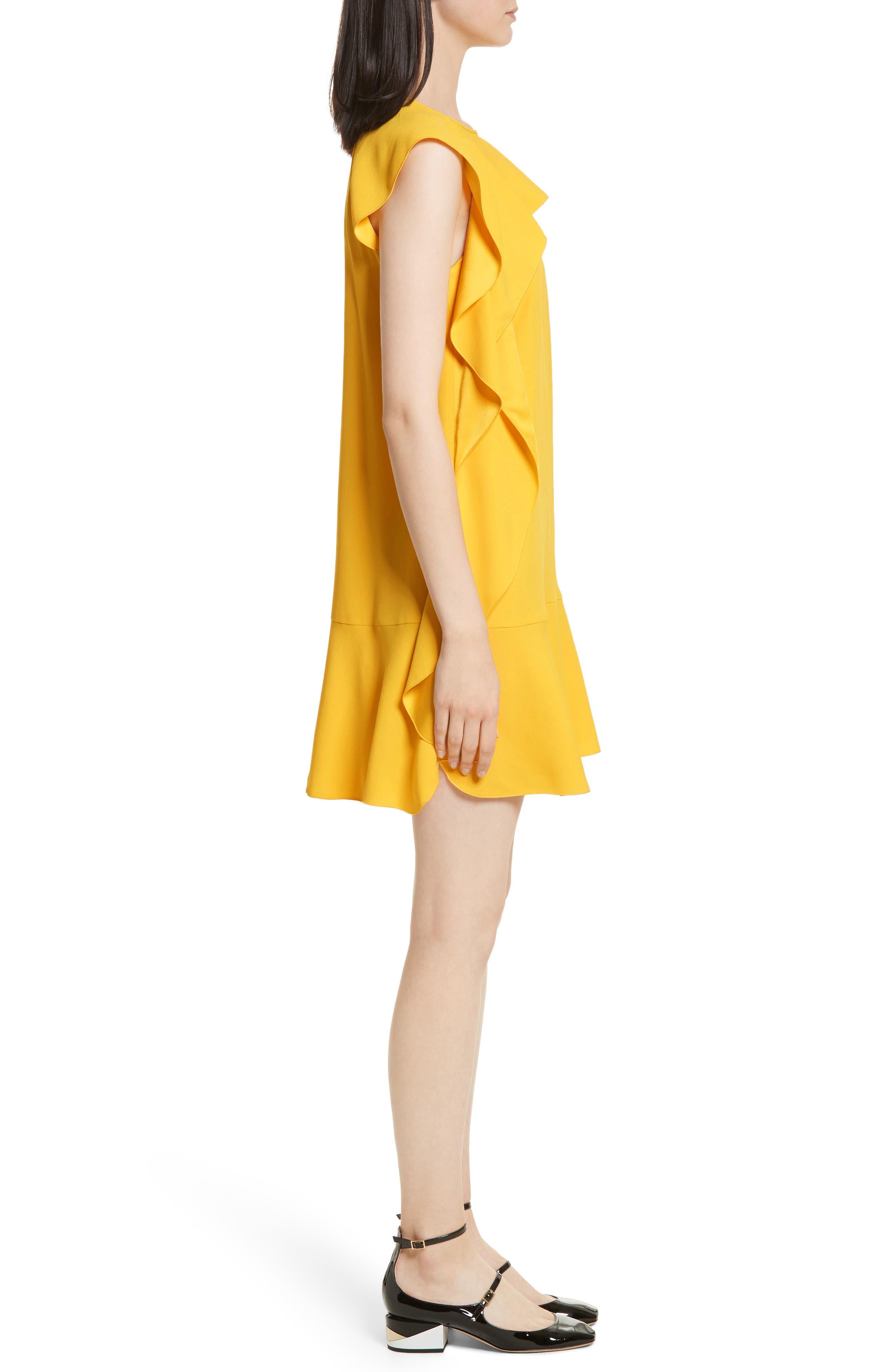 Ruffle Satin Back Crepe Dress,                             Alternate thumbnail 3, color,                             700
