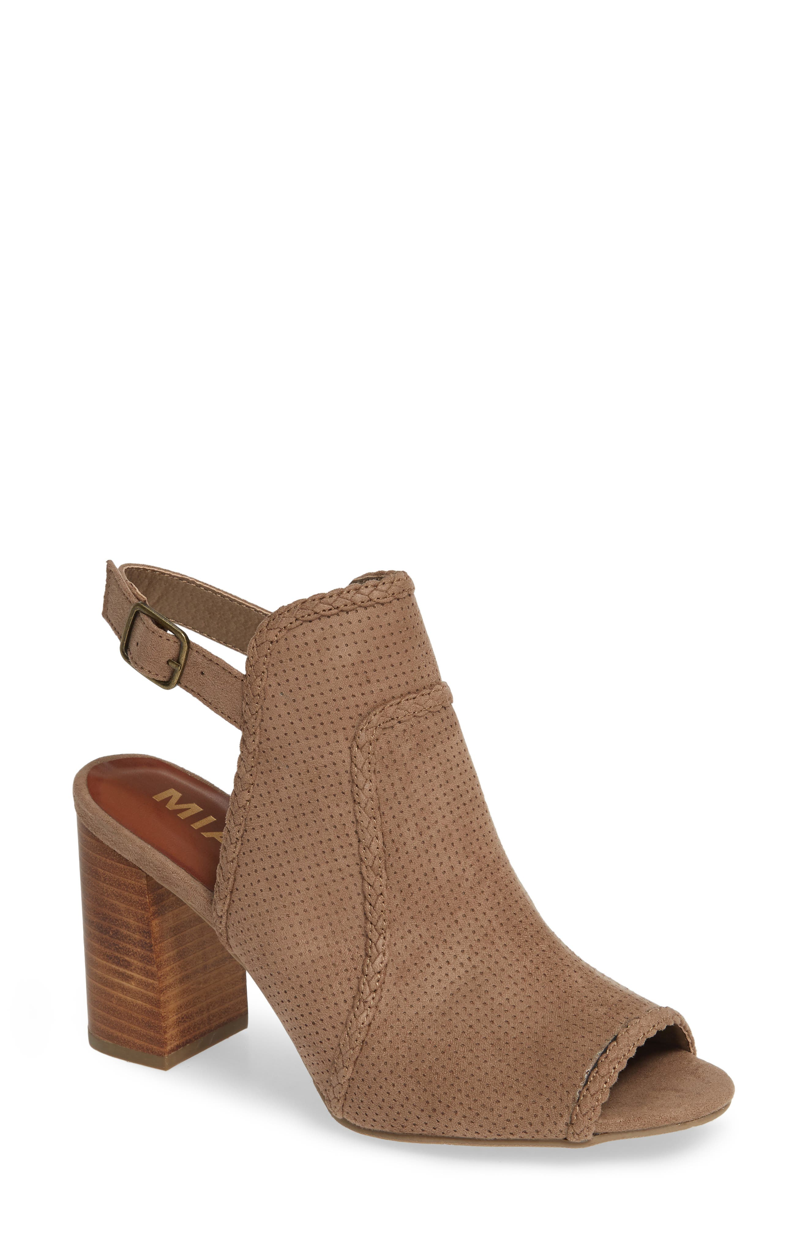 Mia Pat Perforated Open Toe Bootie- Brown