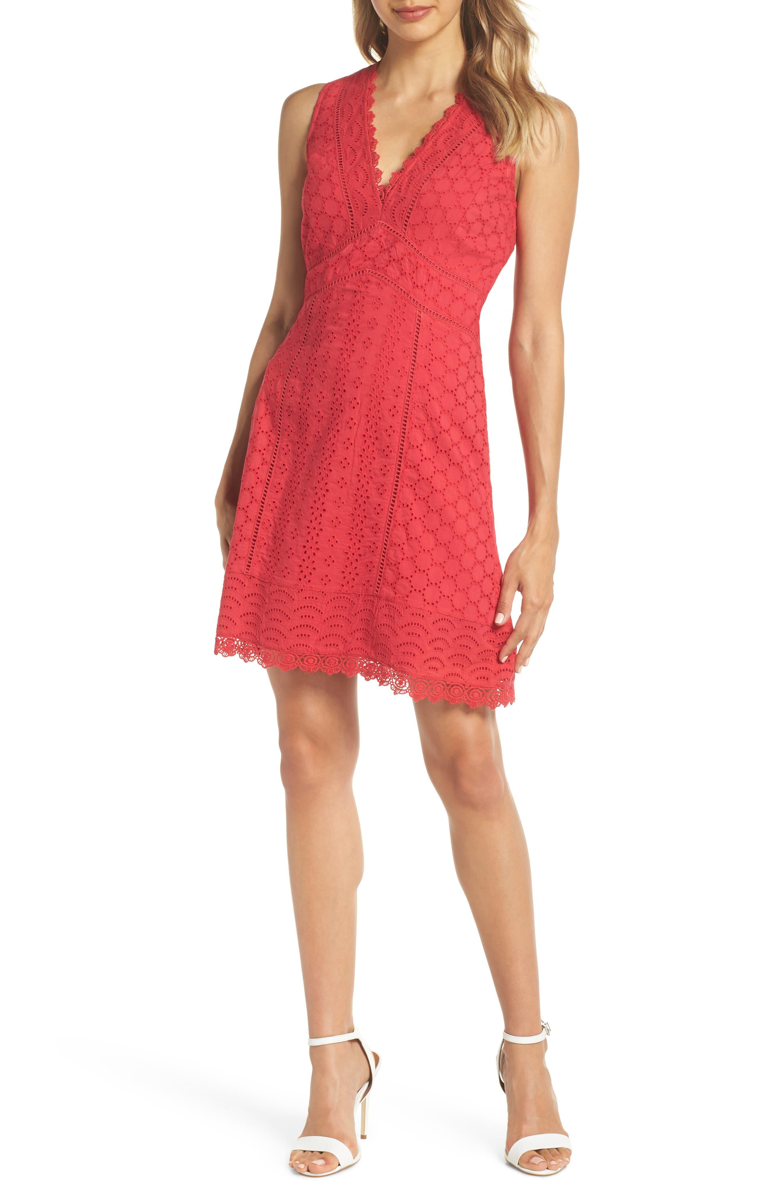 Zahara Eyelet & Lace A-Line Dress,                             Main thumbnail 1, color,                             WATERMELON