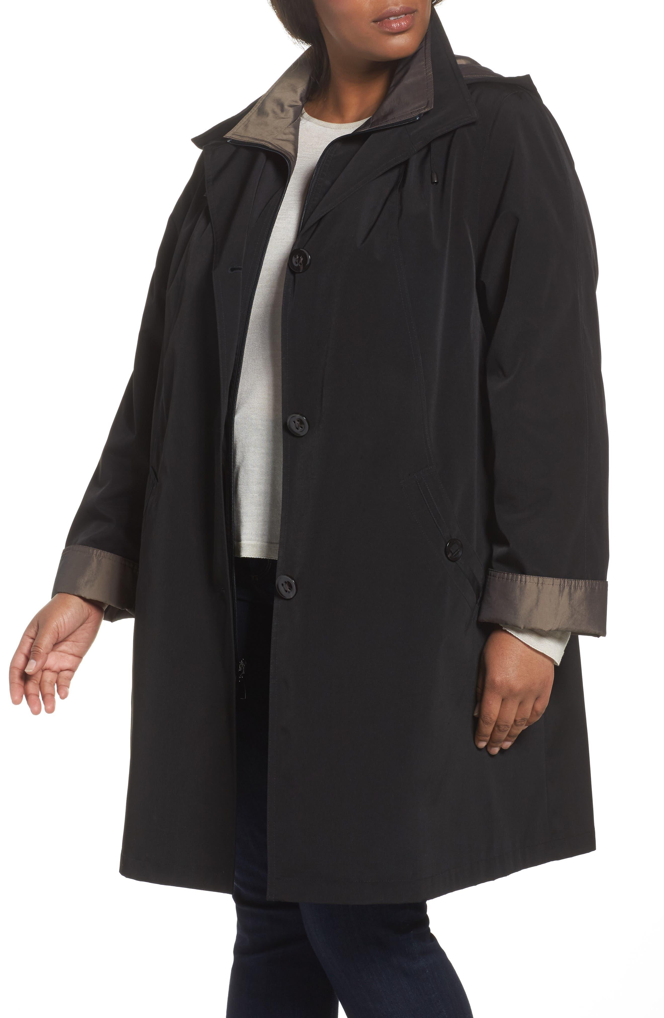 Two-Tone Long Silk Look Raincoat,                         Main,                         color, BLACK