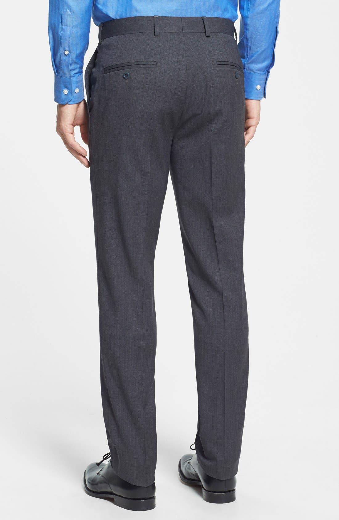 Gab Trim Fit Flat Front Pants,                             Alternate thumbnail 7, color,                             002
