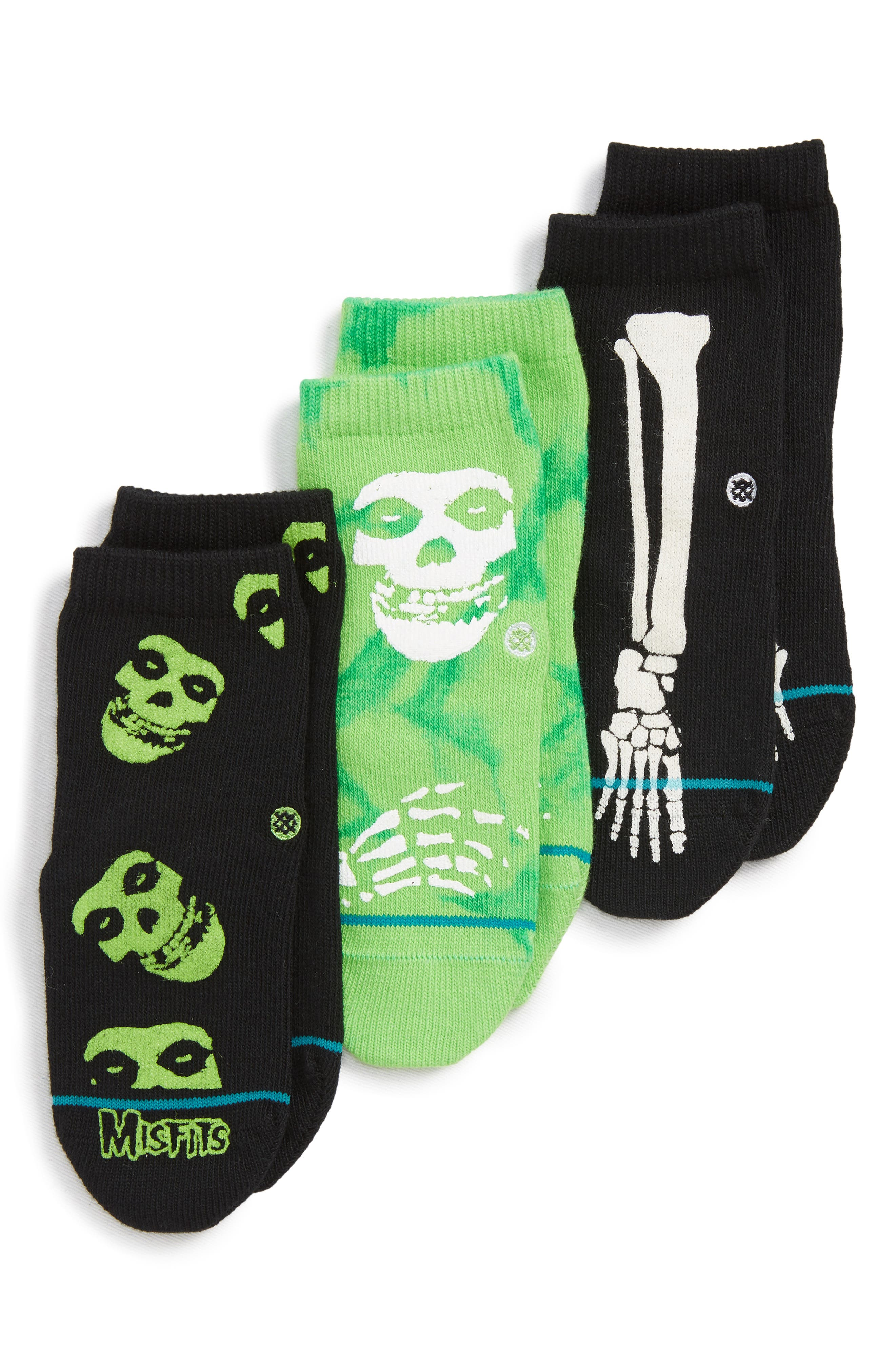 Toddler Boys Stance 3Pack Misfits Ankle Socks Size 12years  Black