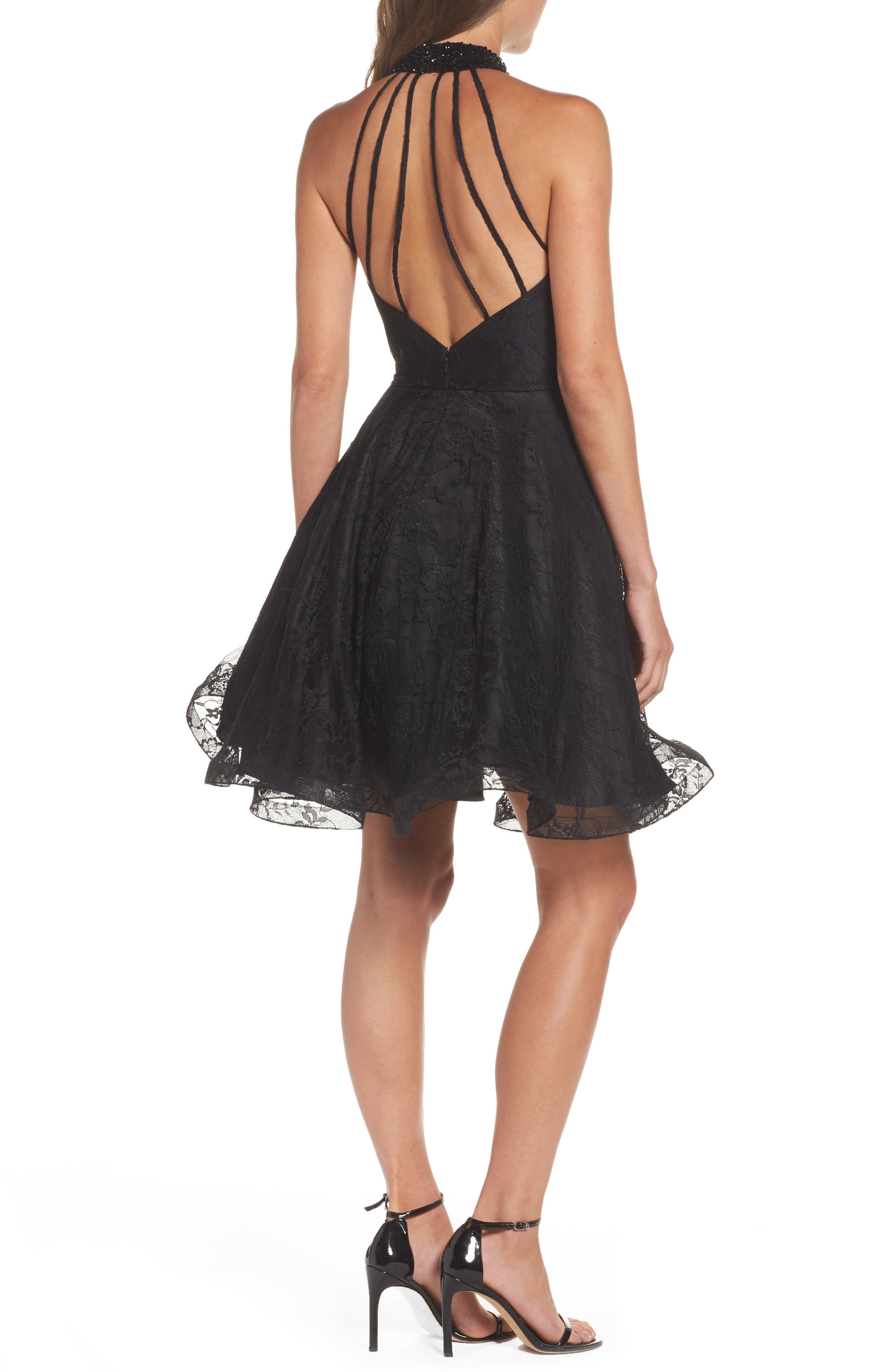 Beaded Lace Fit & Flare Dress,                             Alternate thumbnail 2, color,                             001