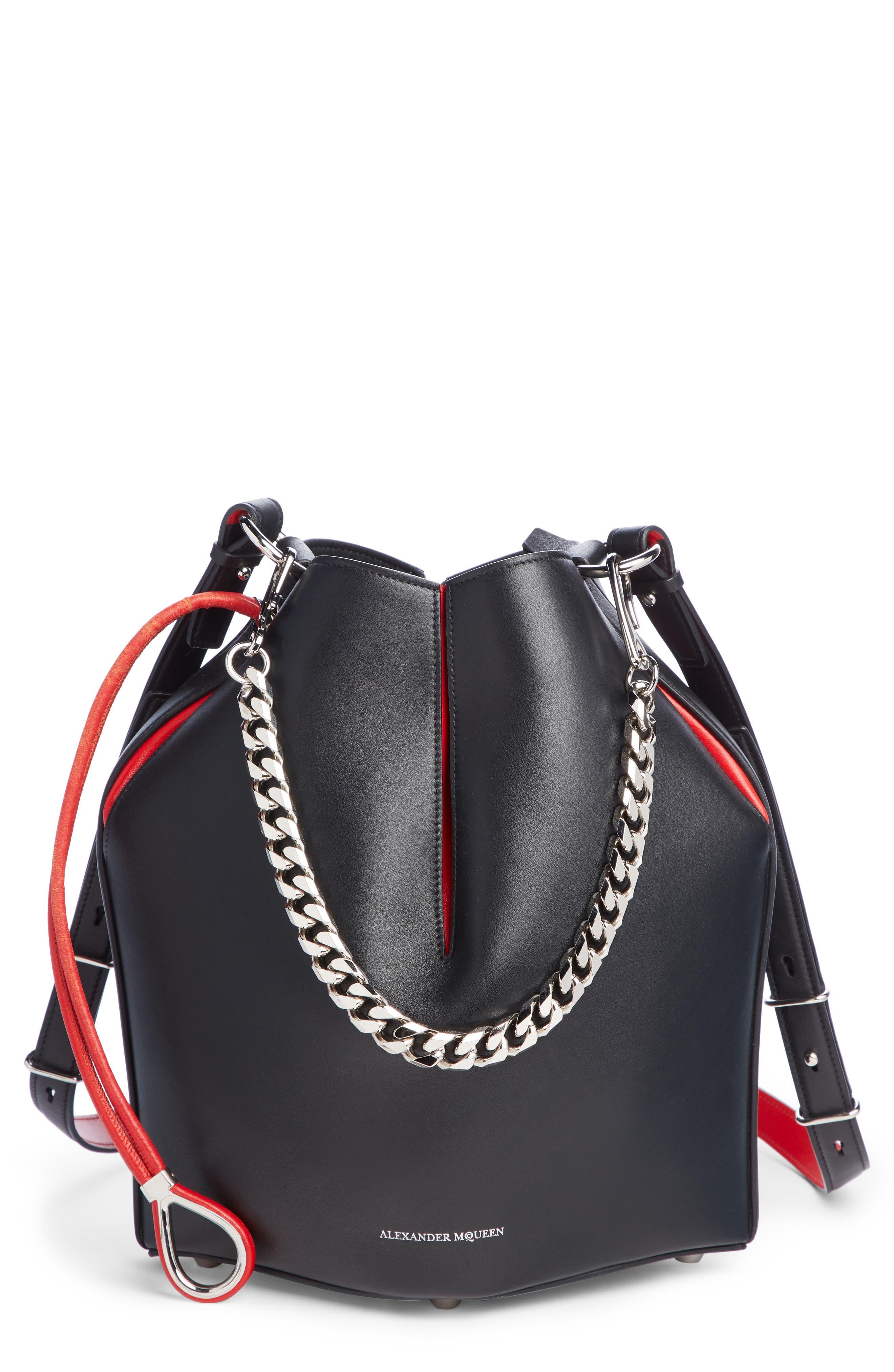 Bicolor Leather Bucket Bag,                         Main,                         color, BLACK/ LUST RED