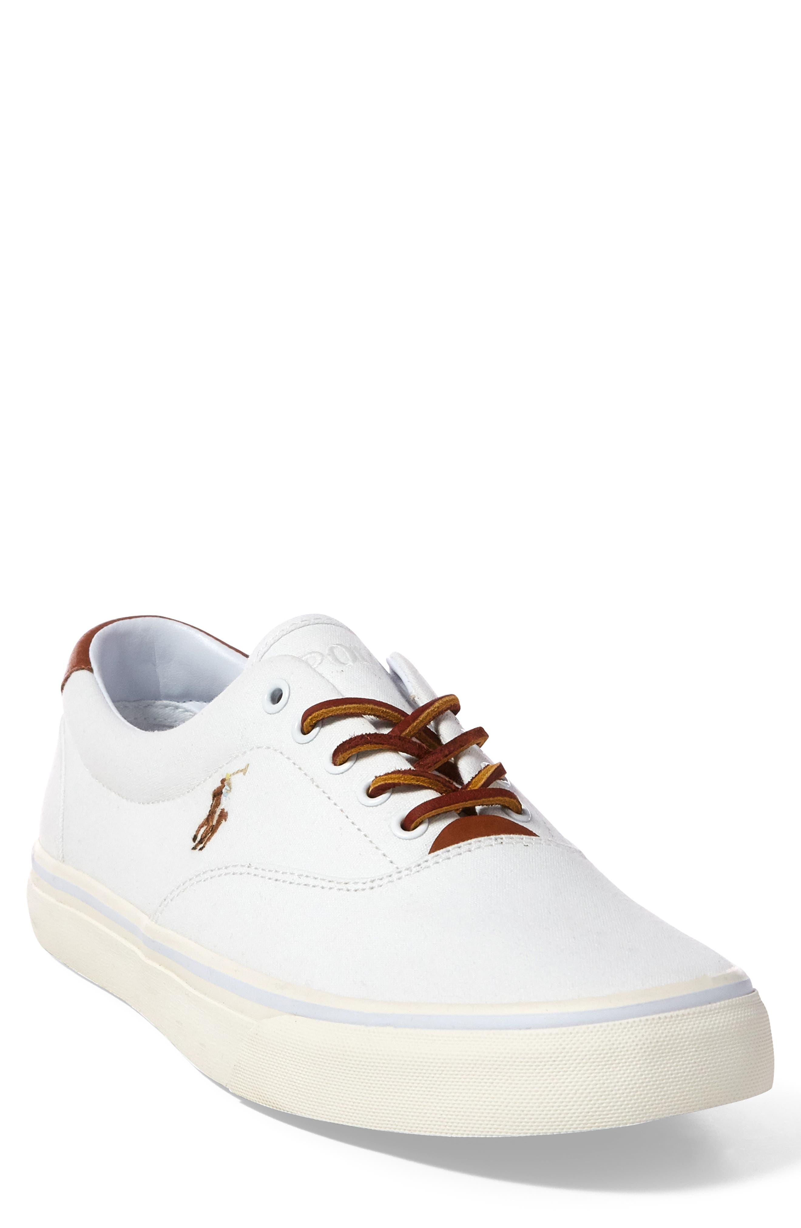 POLO RALPH LAUREN,                             Thorton Low Top Sneaker,                             Main thumbnail 1, color,                             WHITE CANVAS