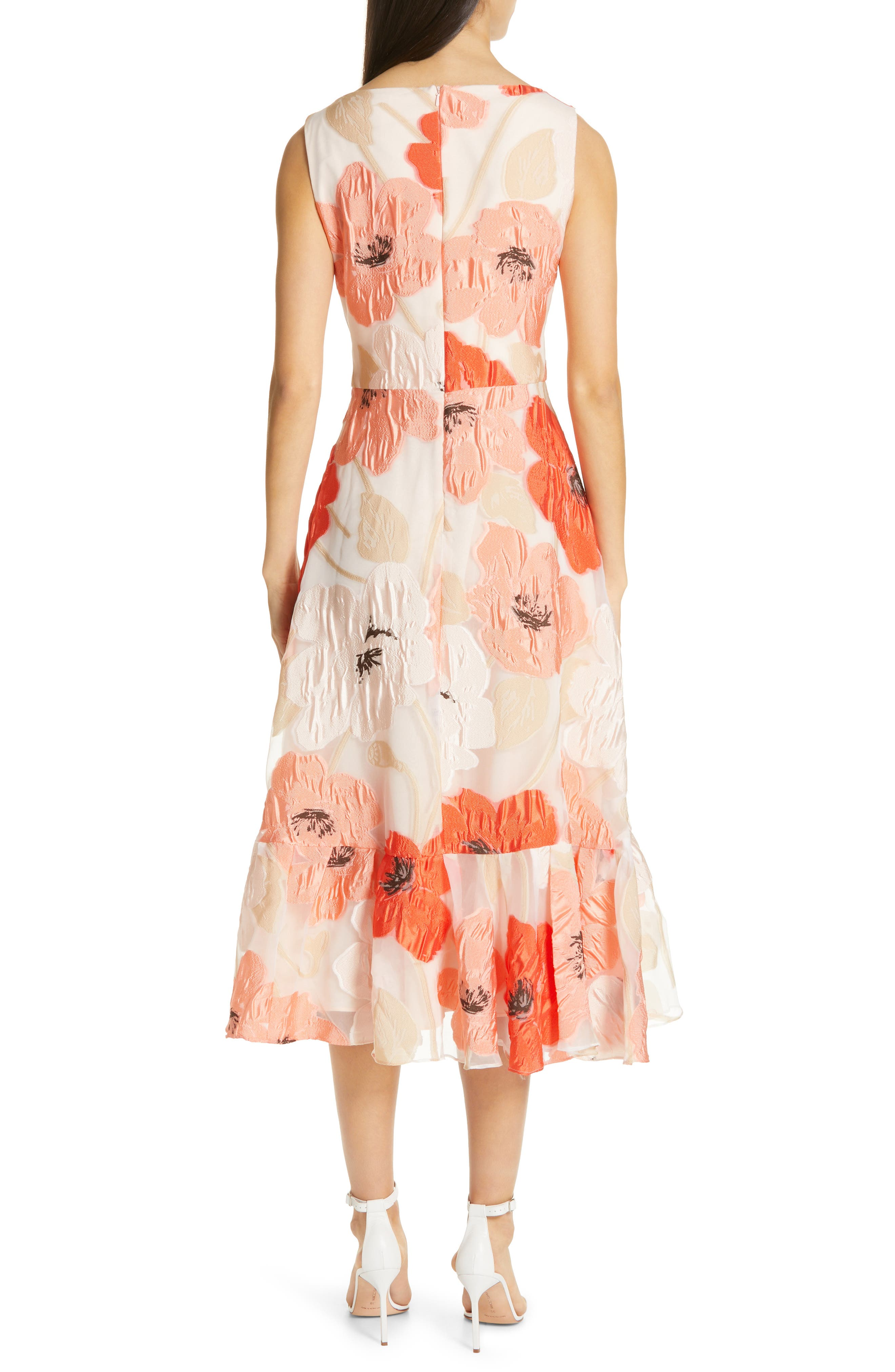 LELA ROSE,                             Oversize Floral Fil Coupé Midi Dress,                             Alternate thumbnail 2, color,                             CORAL MULTI