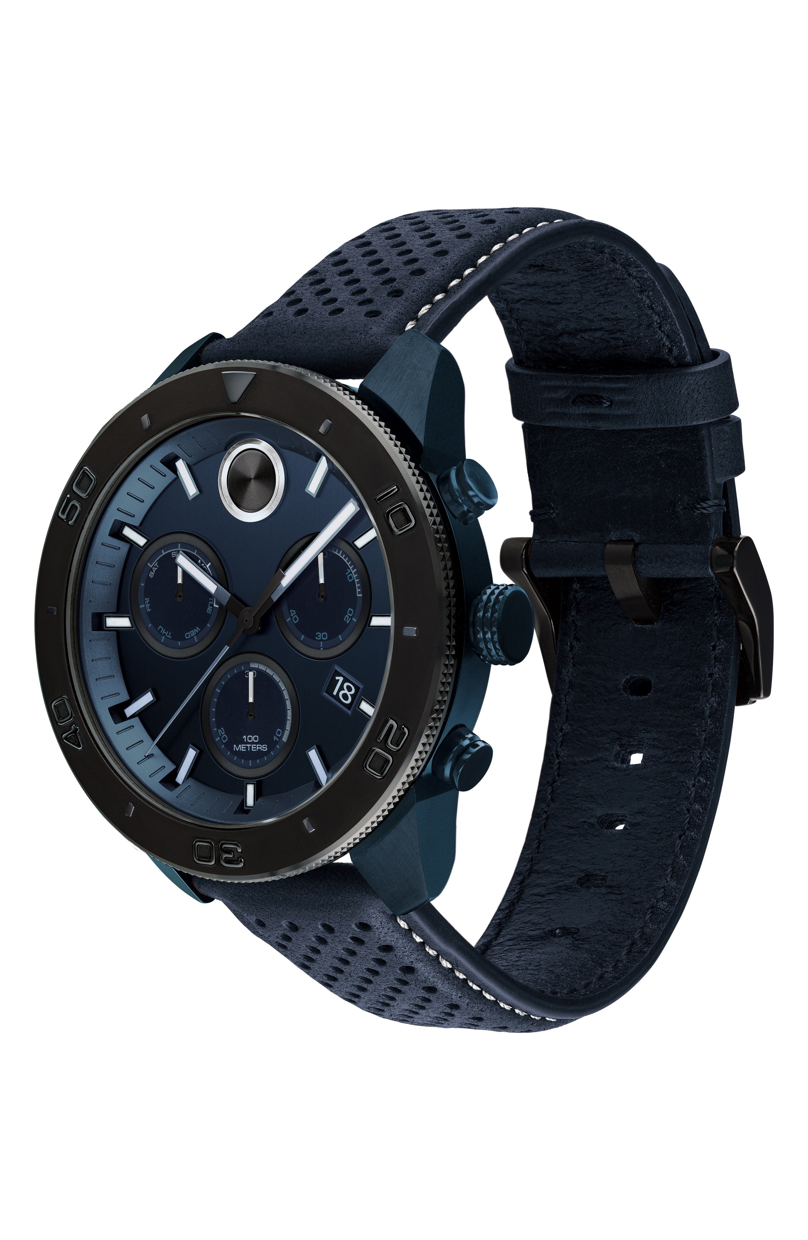 Bold Sport Chronograph Leather Strap Watch, 44mm,                             Alternate thumbnail 3, color,                             NAVY BLUE/ BLACK